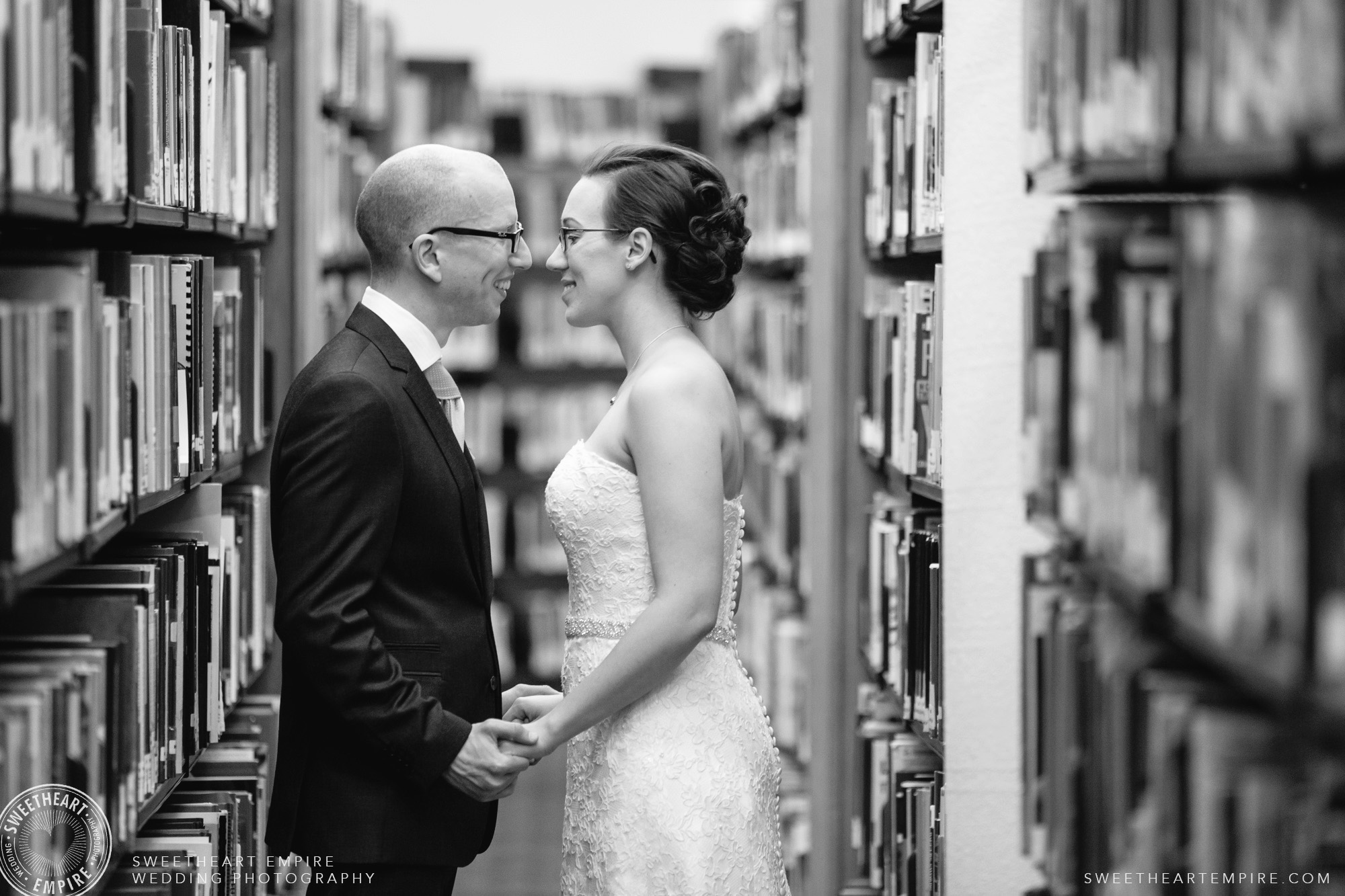 Happy bride and groom;Toronto Reference Library Wedding