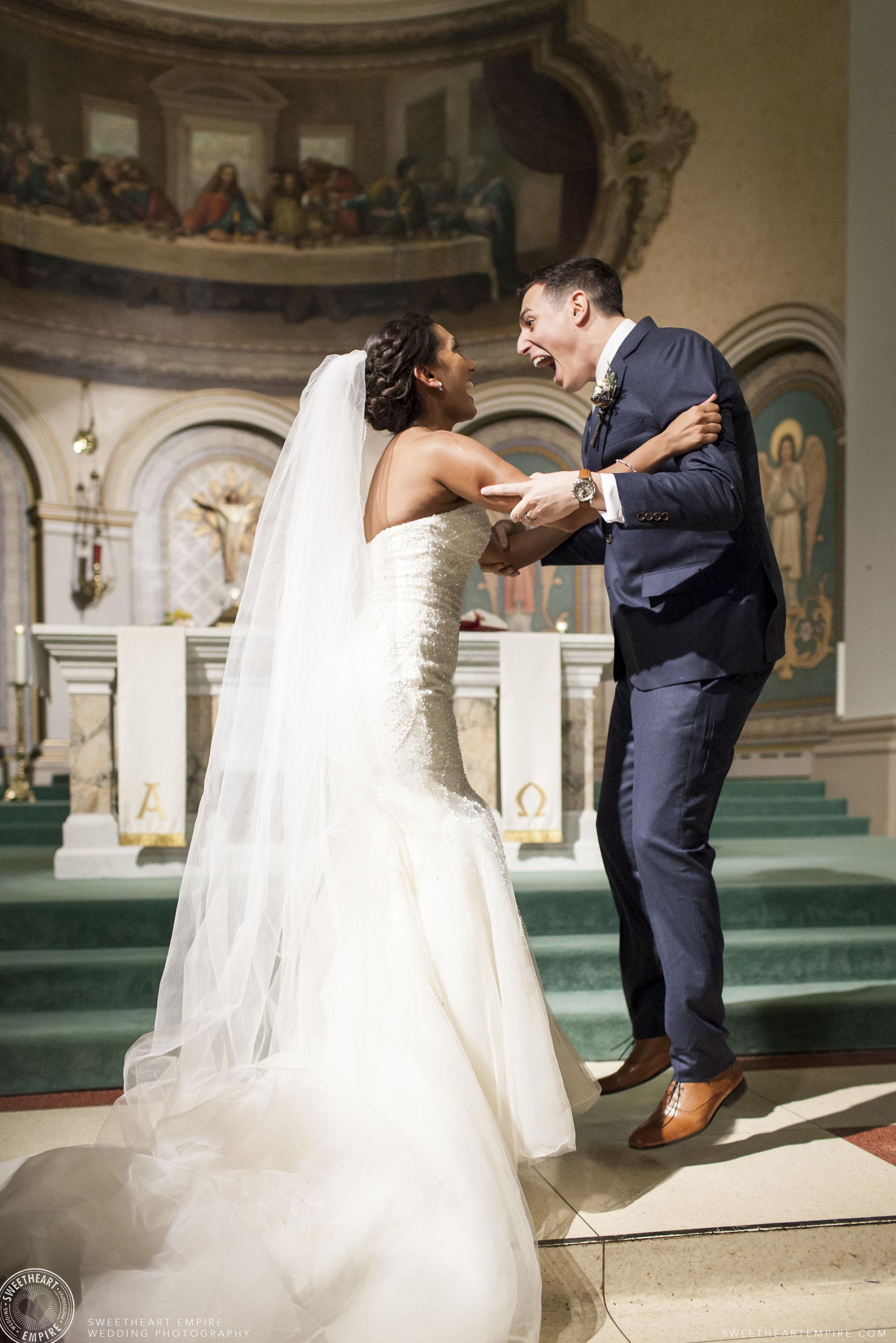 Newlyweds jumping for joy!
