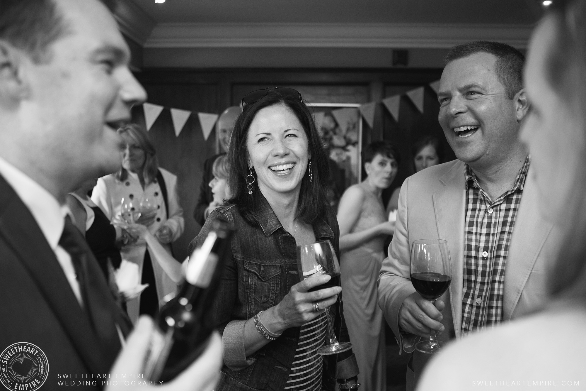 Happy guests during cocktail hour at Oakville Golf Club Wedding
