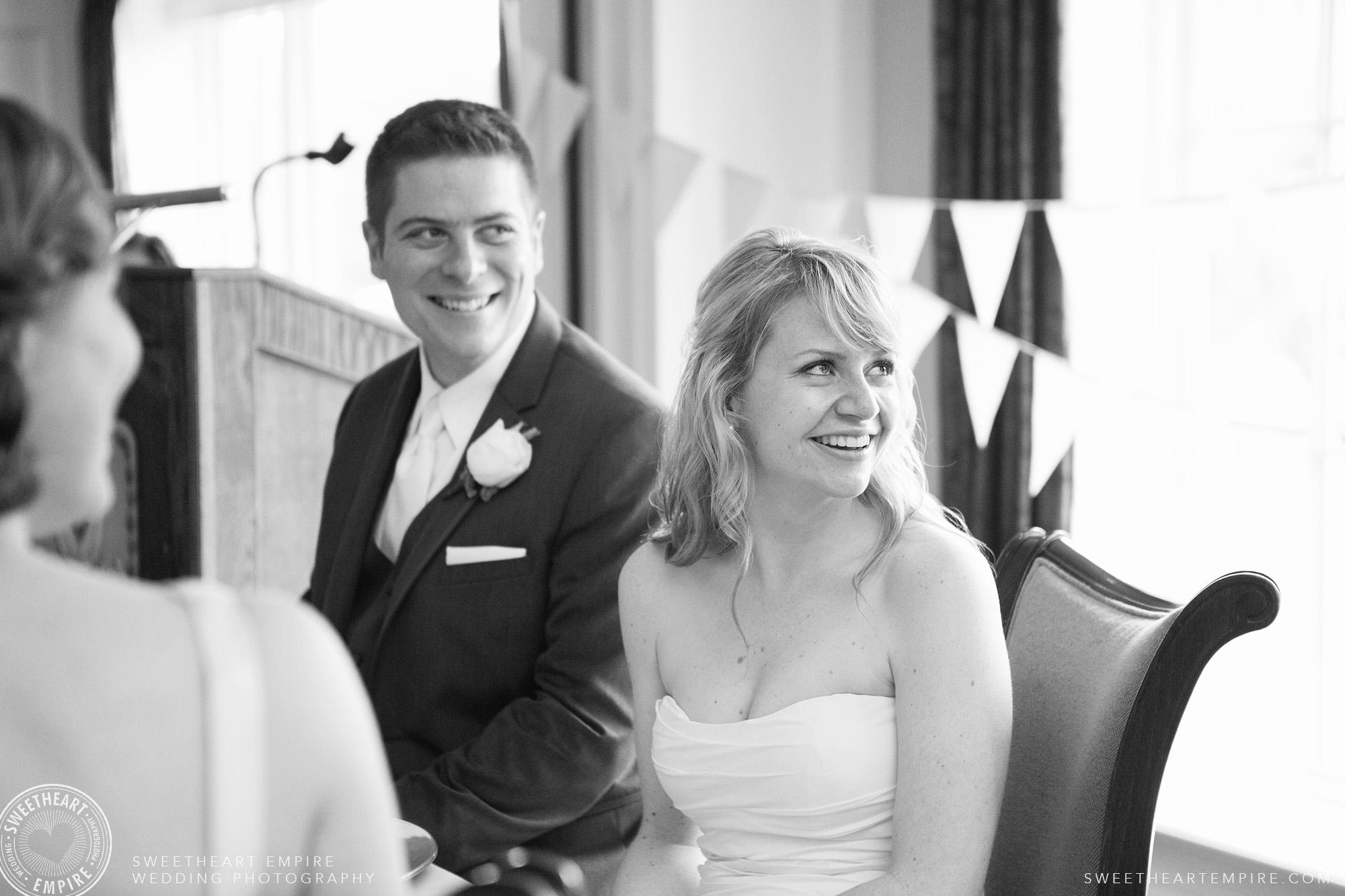 Bride and groom enjoying themselves at wedding reception, Oakville Golf Club Wedding