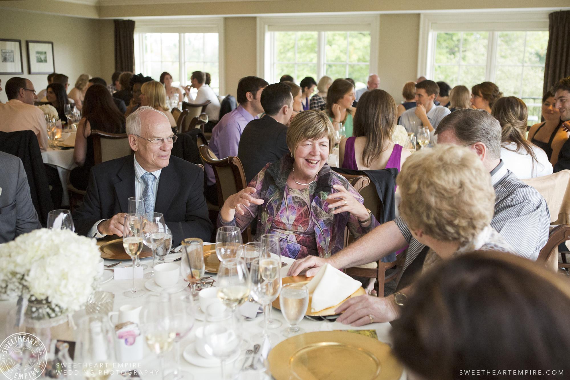 Guests enjoying themselves during wedding reception, Oakville Golf Club Wedding