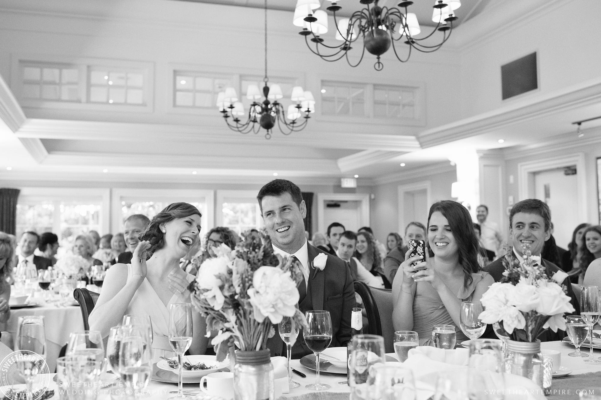 Bridal party having a laugh during wedding reception, Oakville Golf Club Wedding