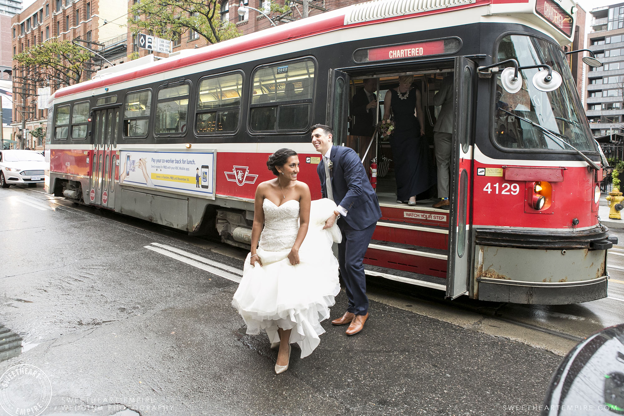 Mel & Roy chartered a streetcar to transport their closest friends across Toronto in style!