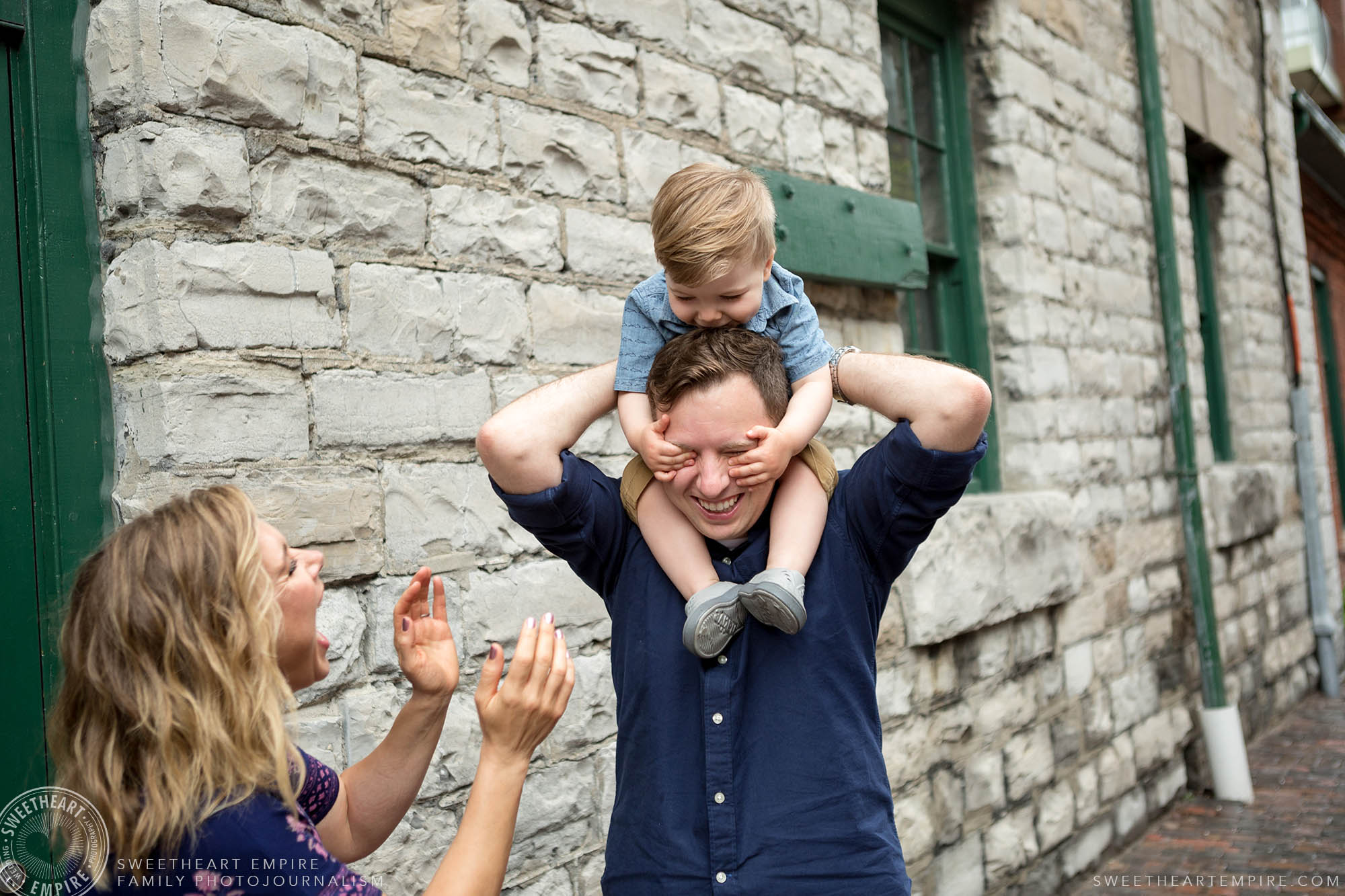 Dad carrying son on his shoulders, Distillery District Family Photography