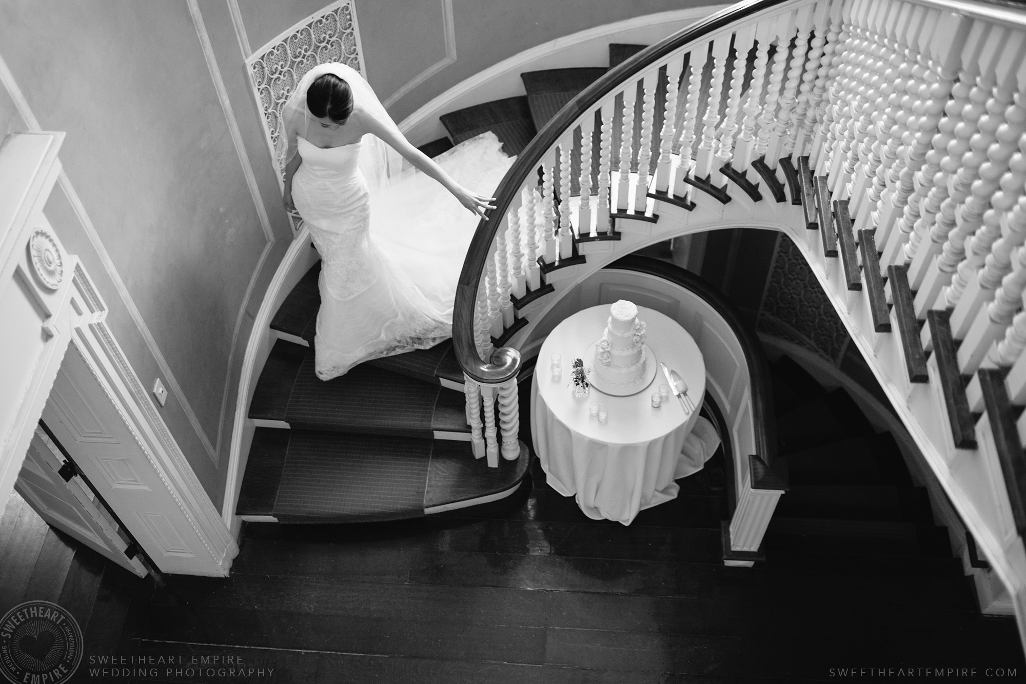 Bride walking down the stairs, McLean House Wedding, Estates of Sunnybrook