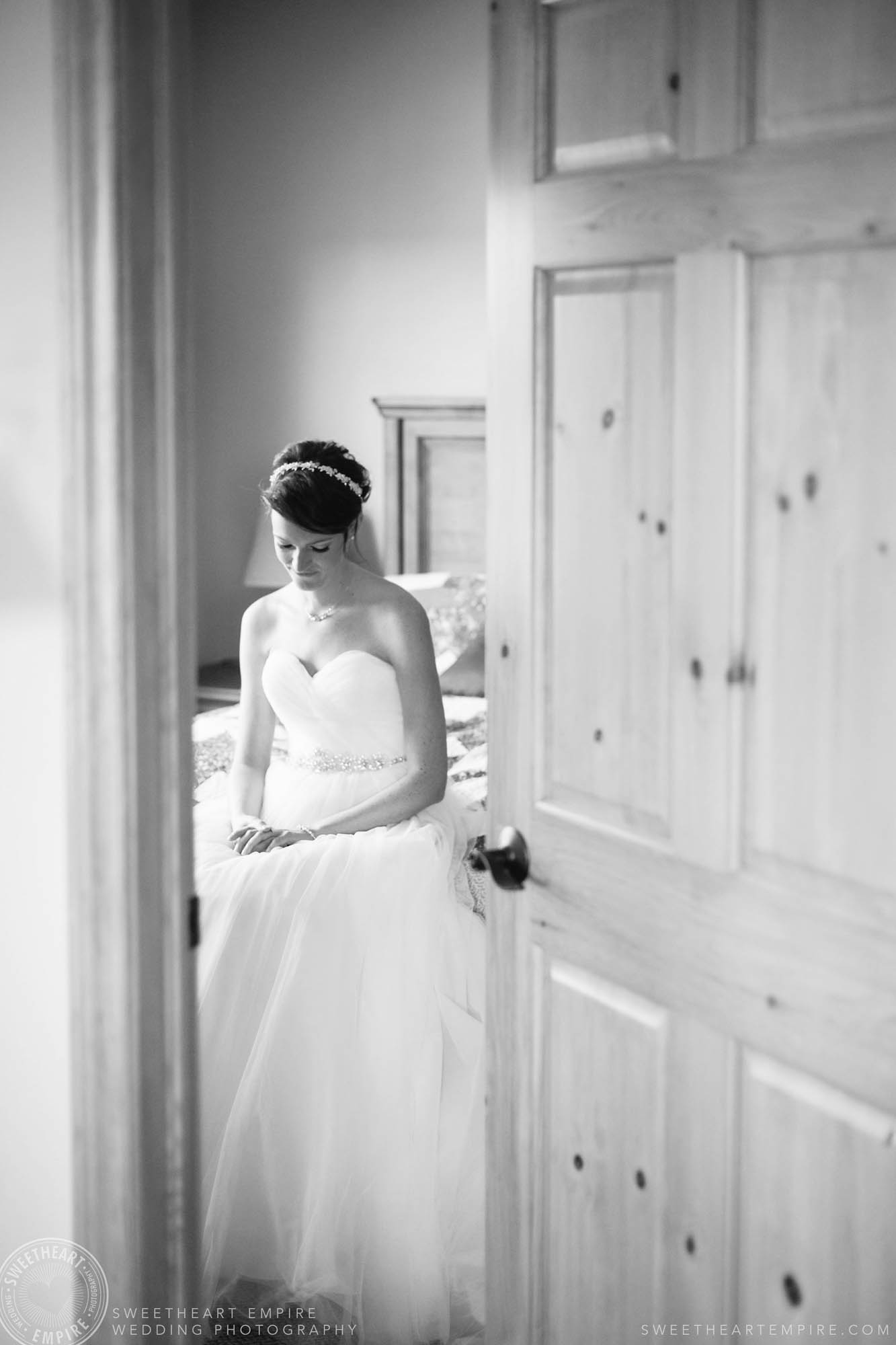 Bride taking a moment to herself before the ceremony, at this Rockway Vineyards wedding in Niagara.