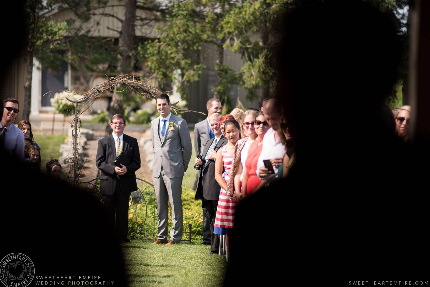 Groom waiting for his bride at the altar, Rockway Vineyard Wedding, Niagara
