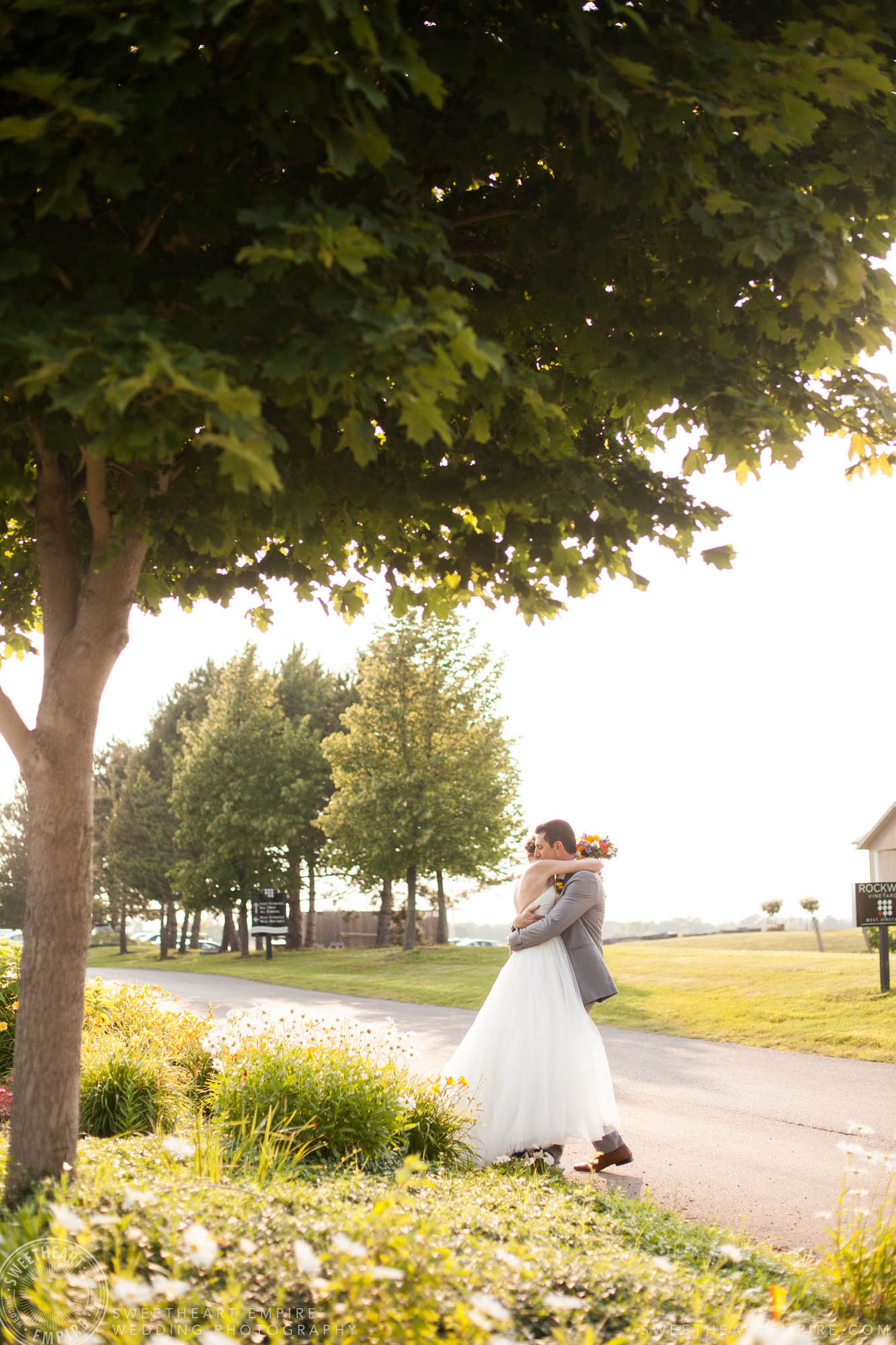 Bride and groom hugging, Rockway Vineyard Wedding, Niagara