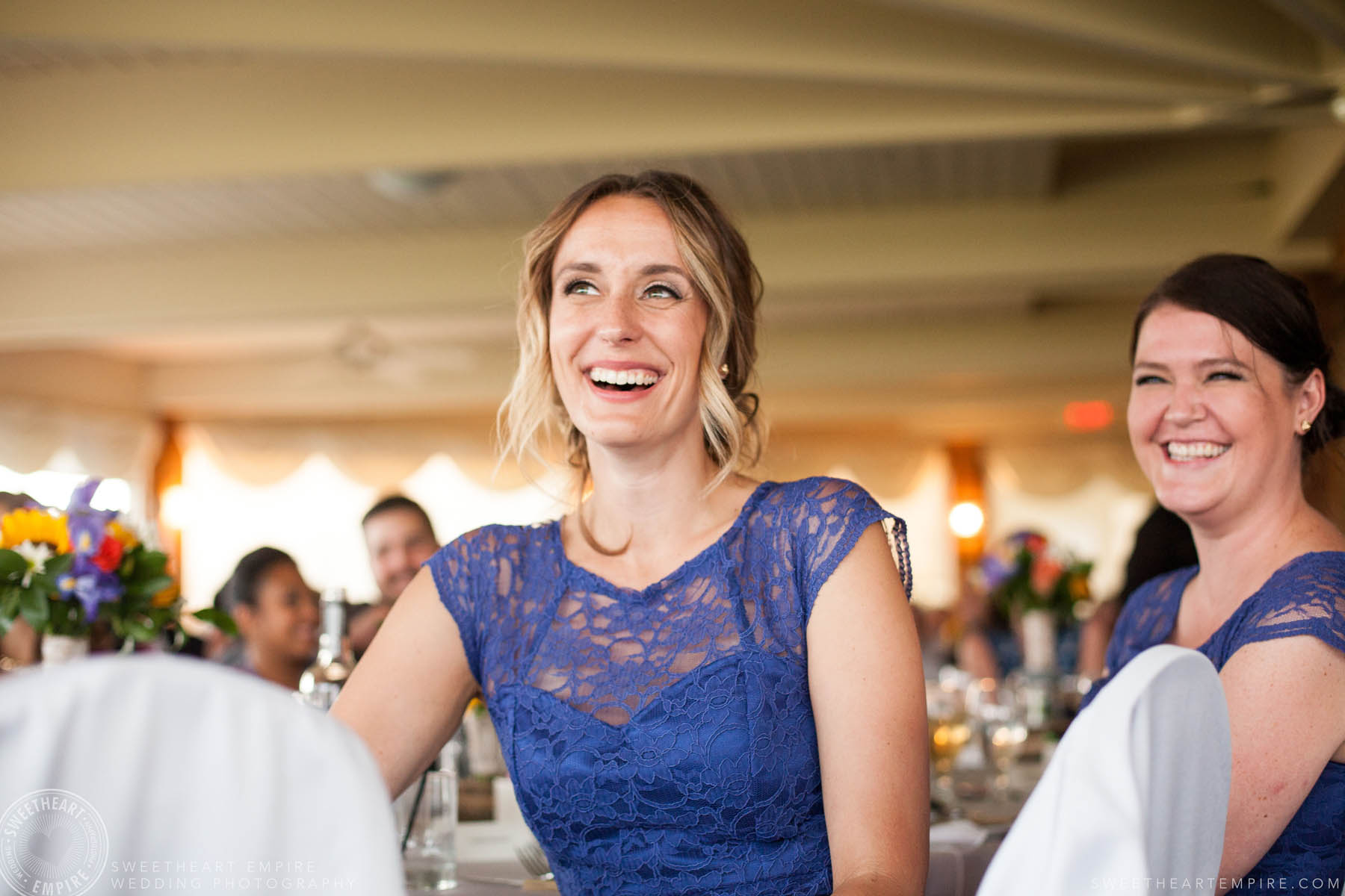 Happy wedding guest smiling, Rockway Vineyard Wedding, Niagara