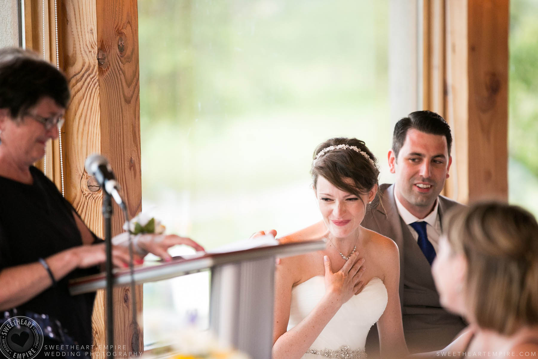 Bride getting emotional while listening to speech, Rockway Vineyard Wedding, Niagara