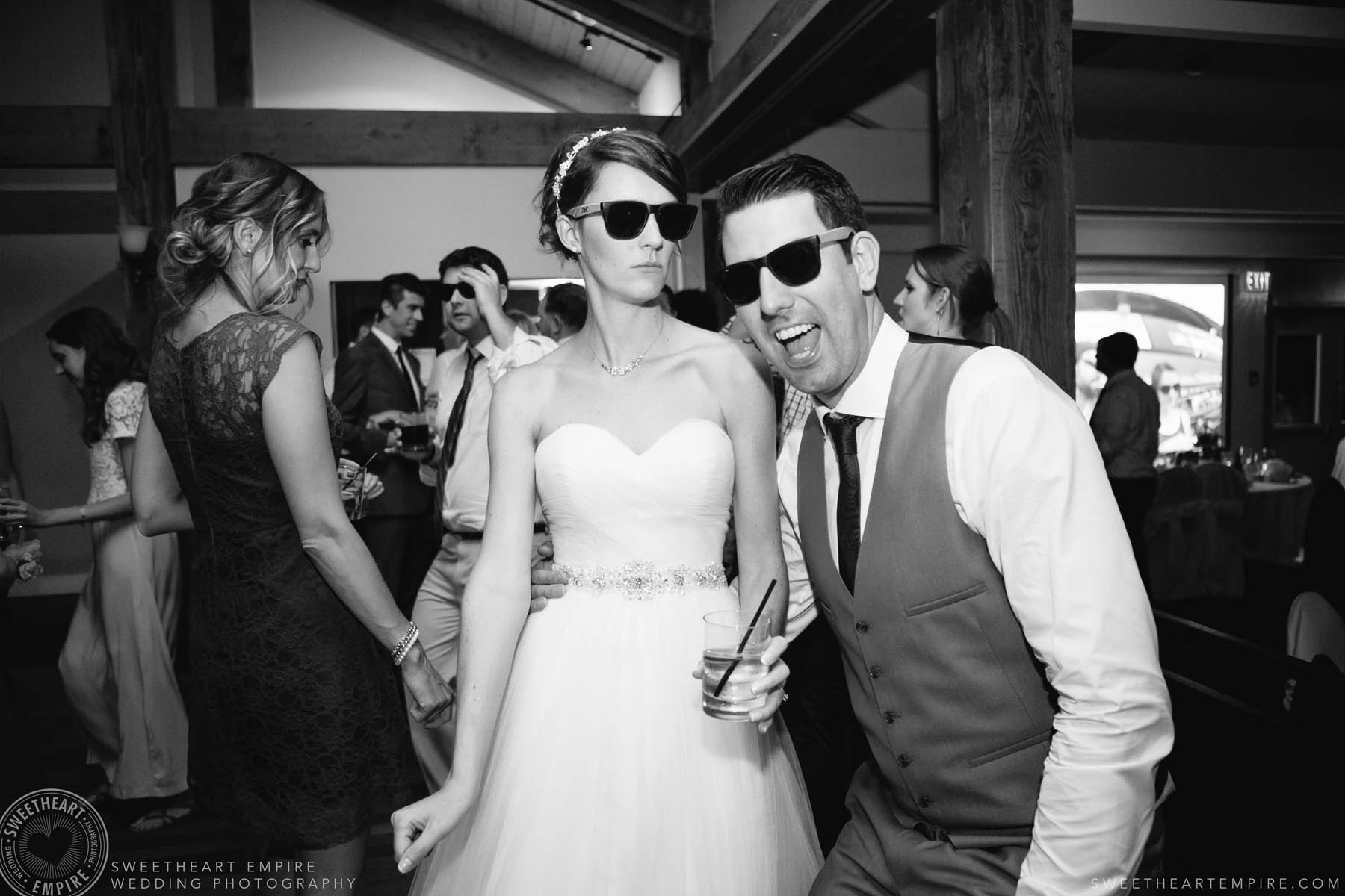 Bride and groom dancing with sunglasses on, Rockway Vineyard Wedding, Niagara