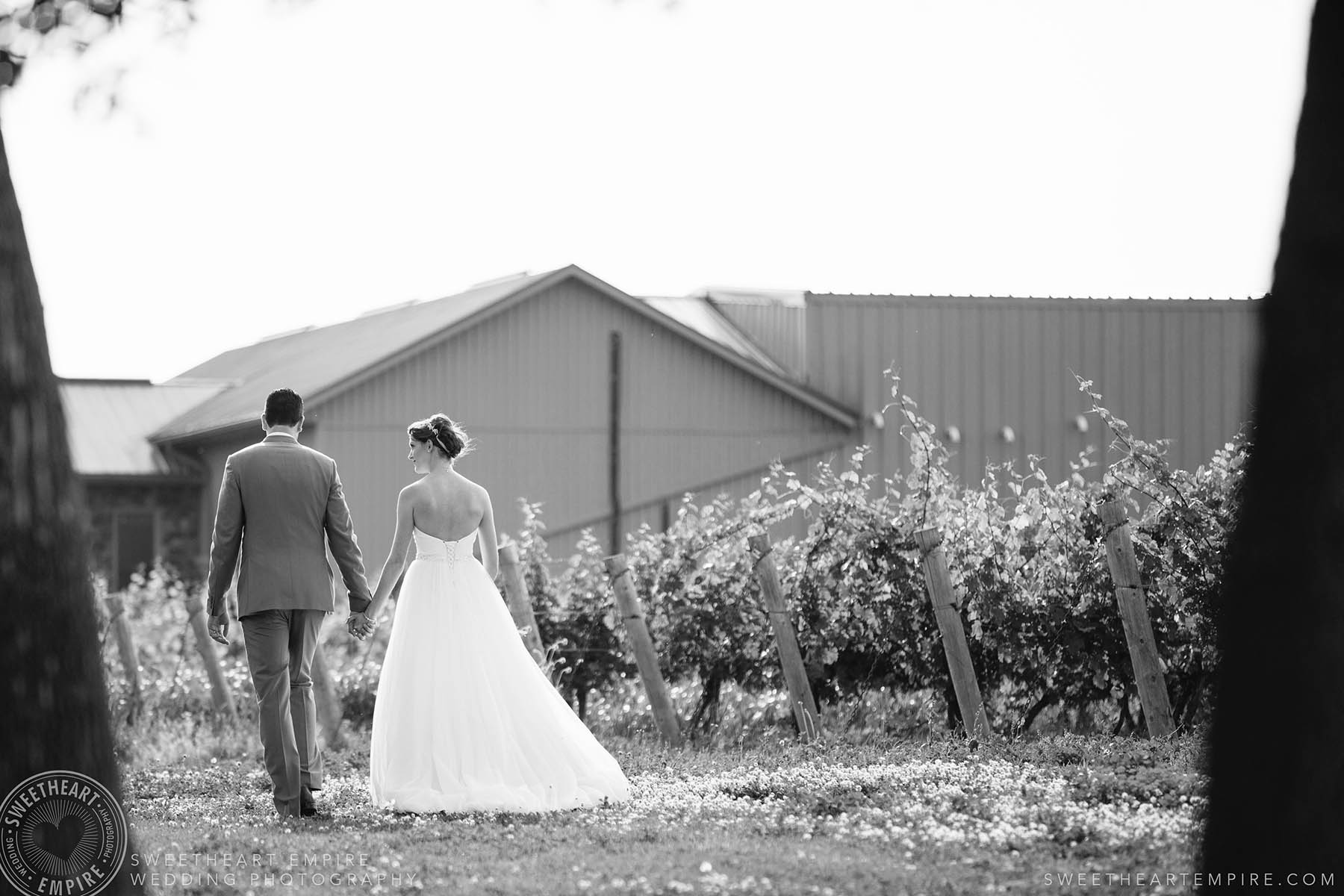 Bride and groom walking through the vineyards, Rockway Vineyard Wedding, Niagara