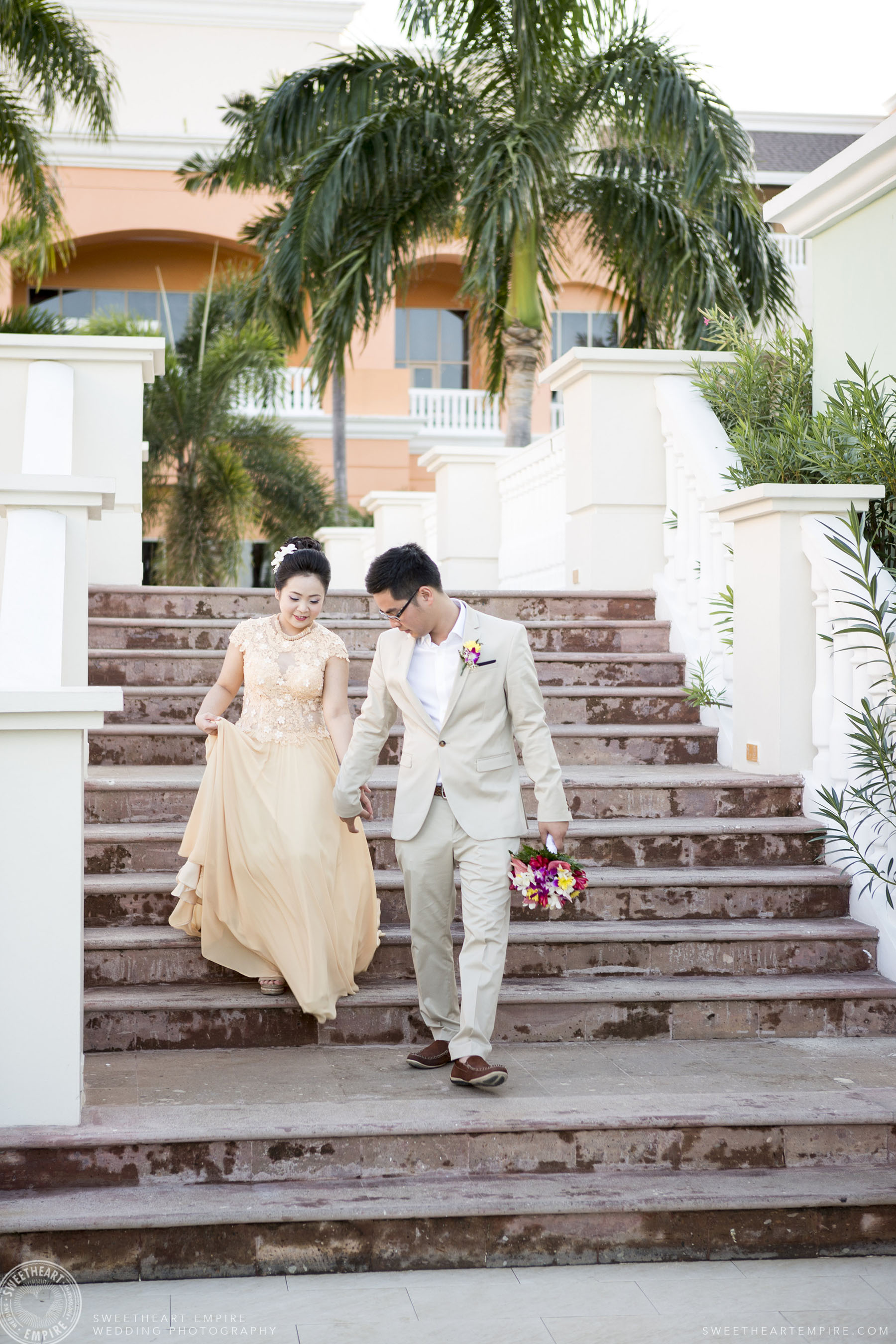 Bride and groom at Iberostar Grand Hotel Rose Hall, in Montego Bay, Jamaica