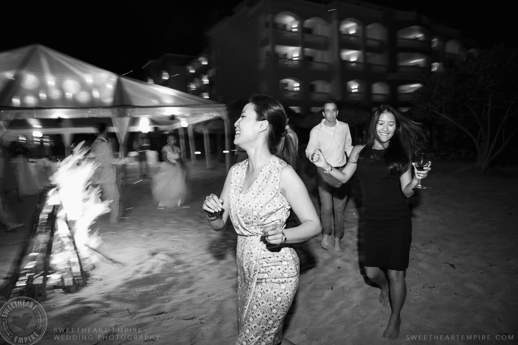 Guests dancing during wedding reception at Iberostar Grand Hotel Rose Hall, in Montego Bay, Jamaica