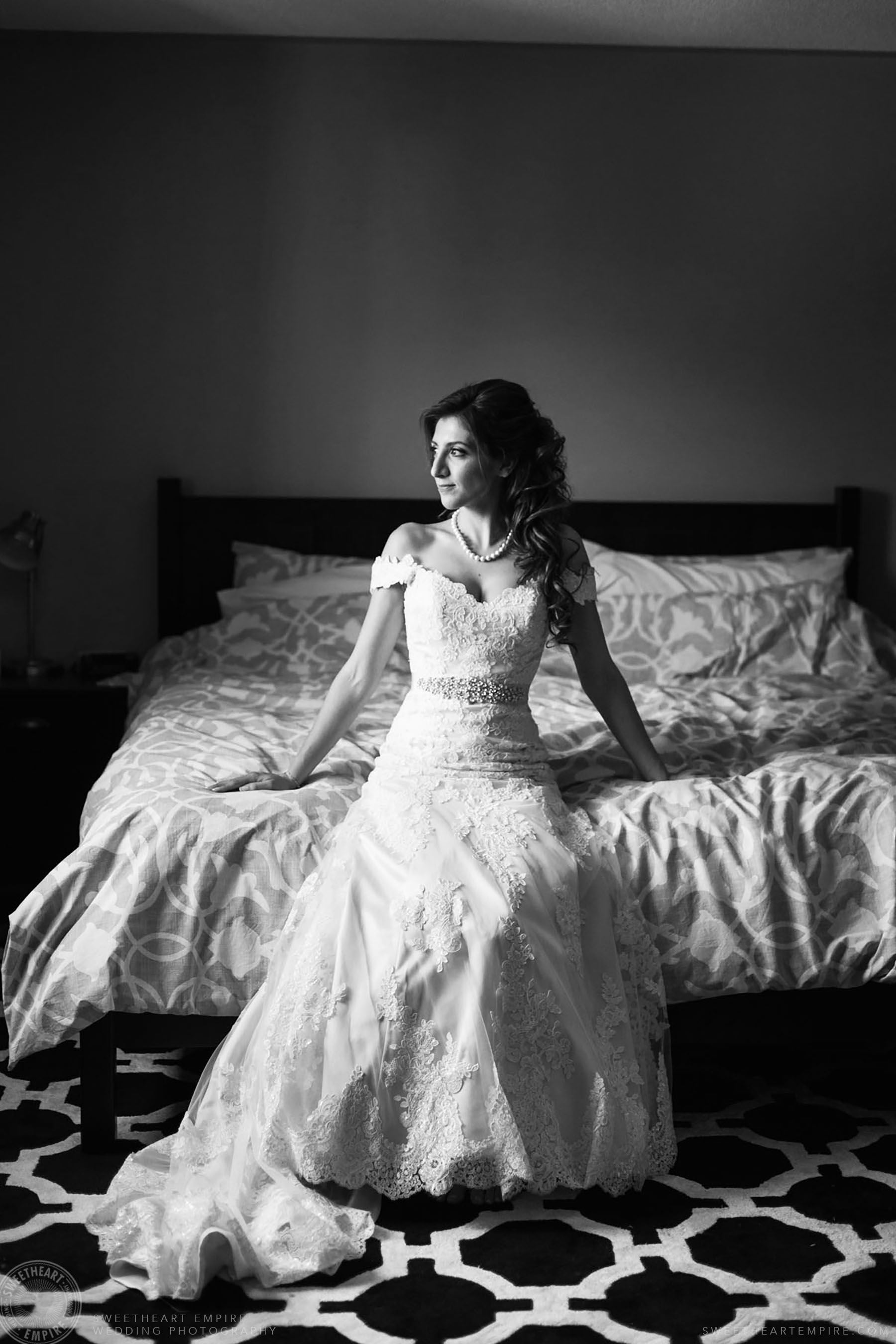 Black and white portrait of bride; Eagles Nest Golf Club Wedding Photos