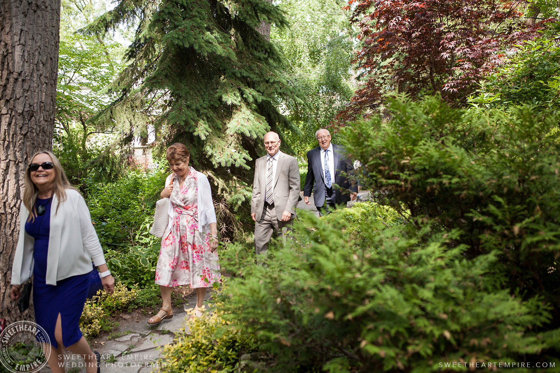 Guests arriving for the wedding, Toronto Island Elopement