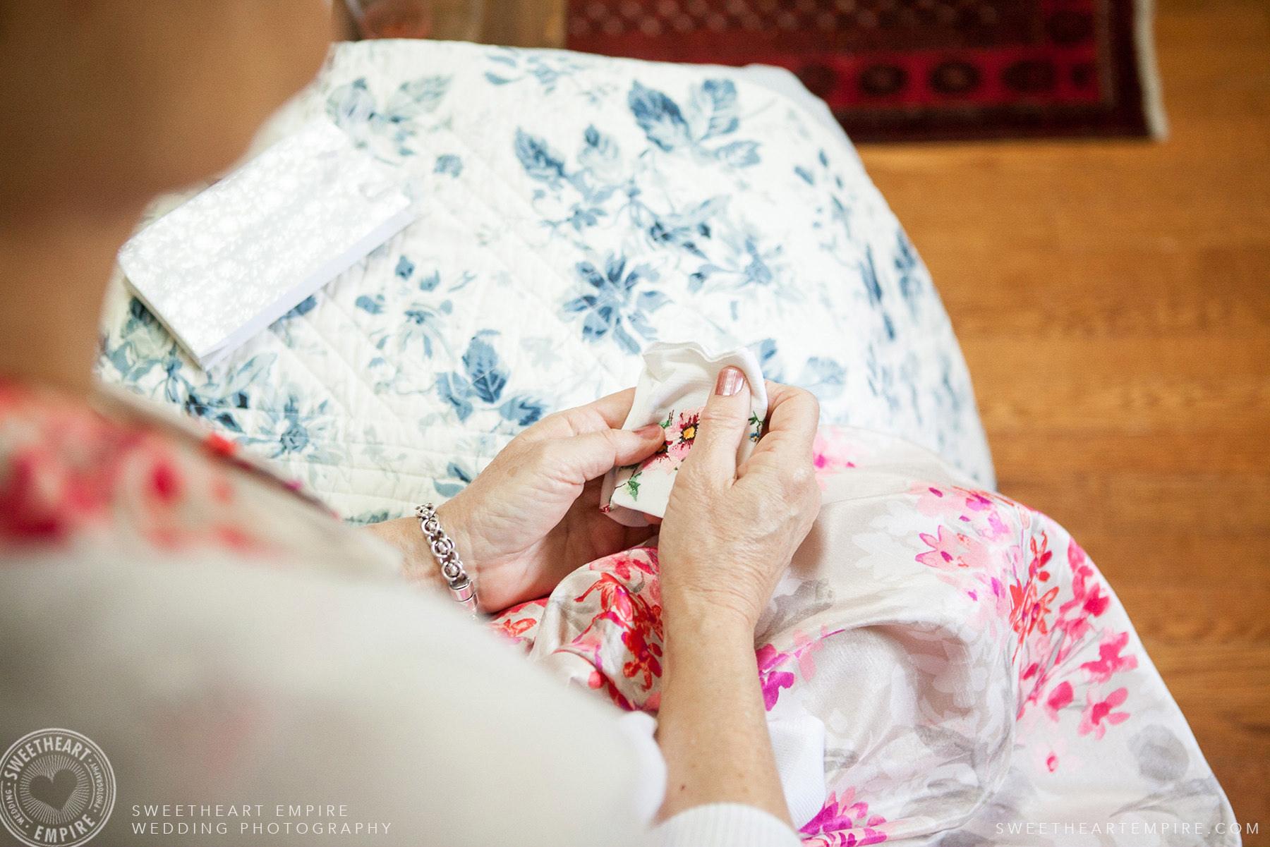 Holding a sentimental handkerchief, Toronto Island Elopement