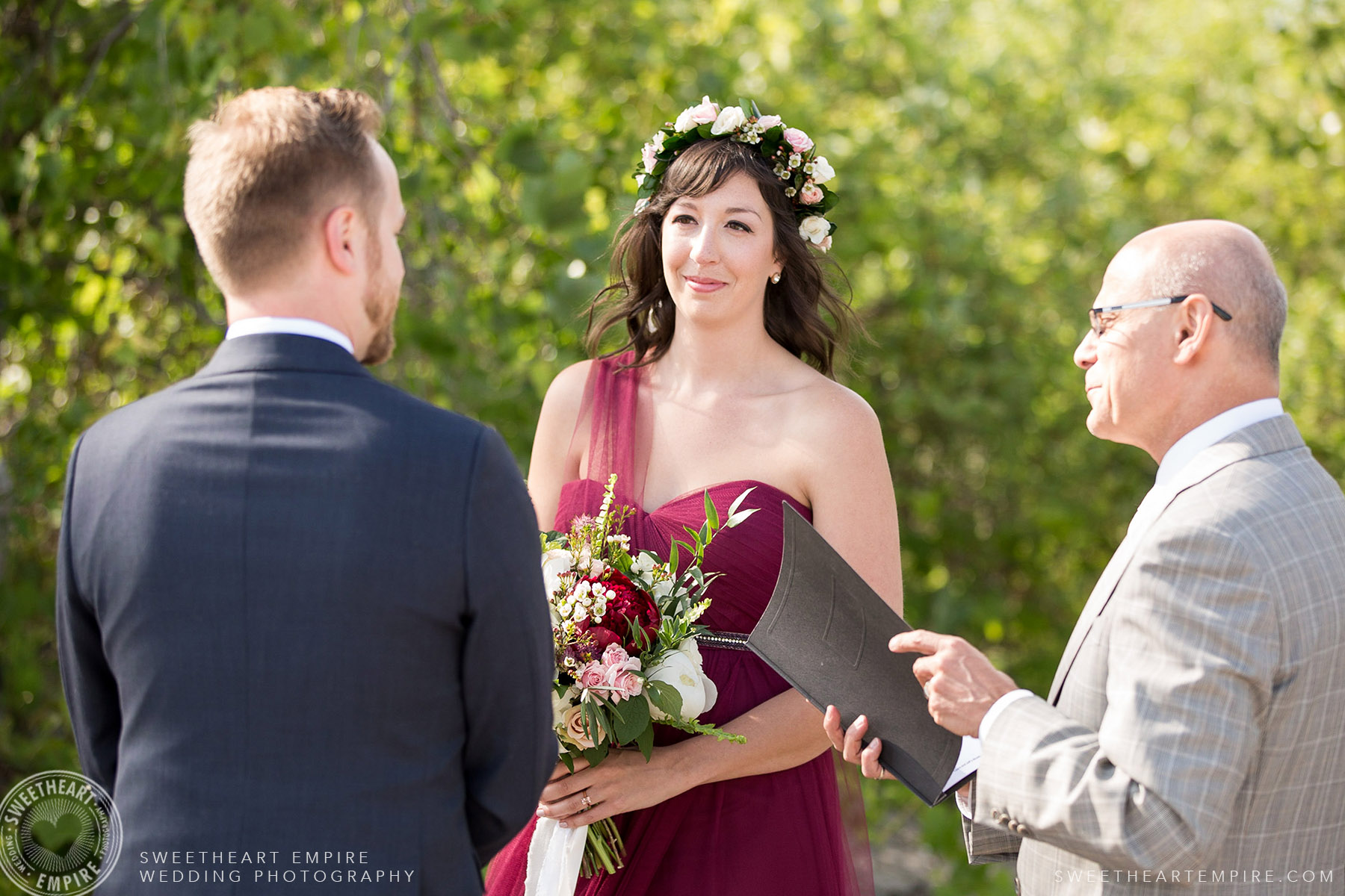Bride and groom saying their vows, Toronto Island Elopement