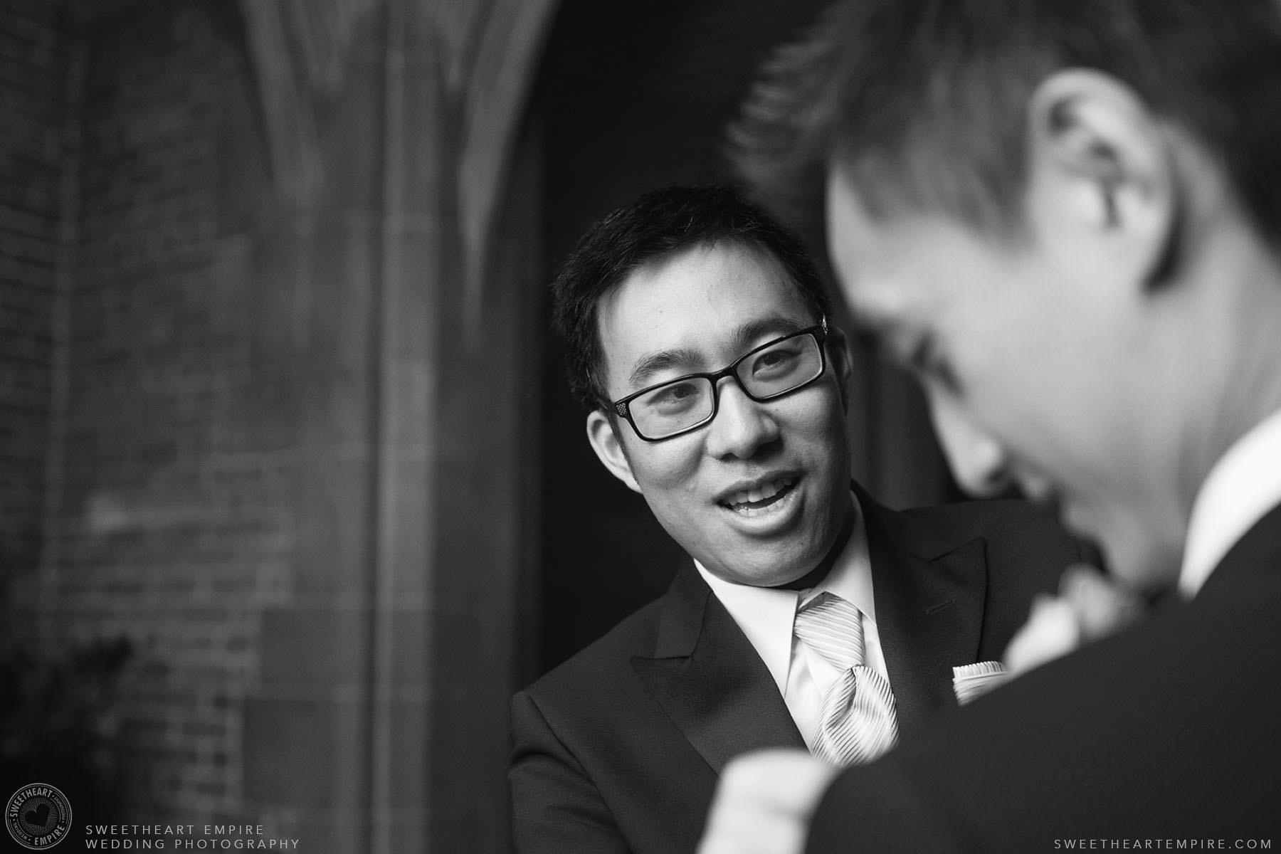 Best man helping the groom get ready, Hart House University of Toronto Wedding