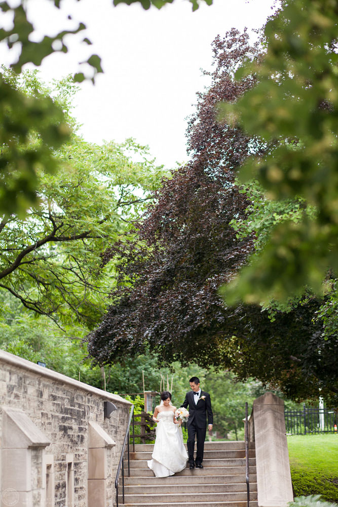 Bride and groom walking together, Hart House University of Toronto Wedding