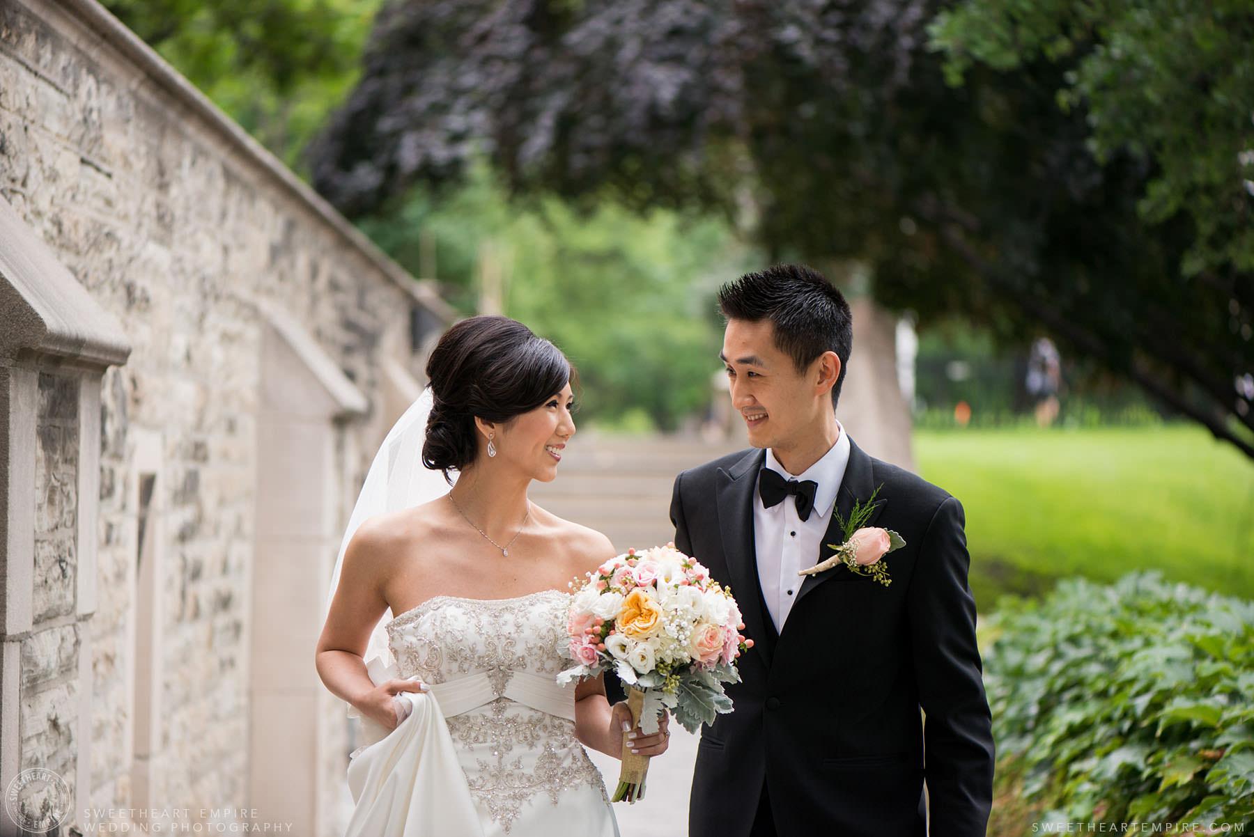 Bride and groom share a loving look, Hart House University of Toronto Wedding