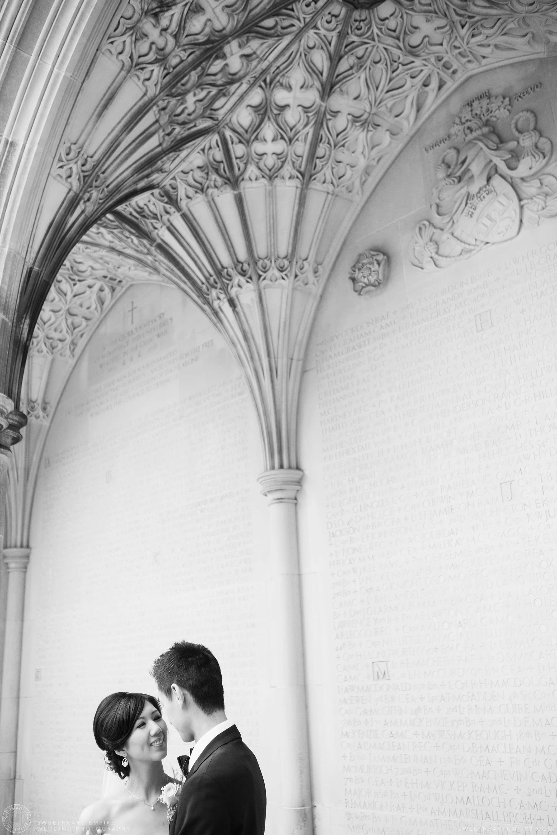 Bride looking at the groom, Hart House University of Toronto Wedding