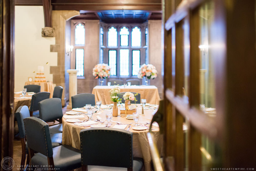 Wedding reception table settings, Hart House University of Toronto Wedding