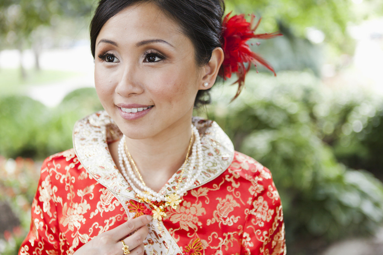 Lovely bride wearing traditional Chinese wedding dress, Bayview Golf and Country Club Wedding