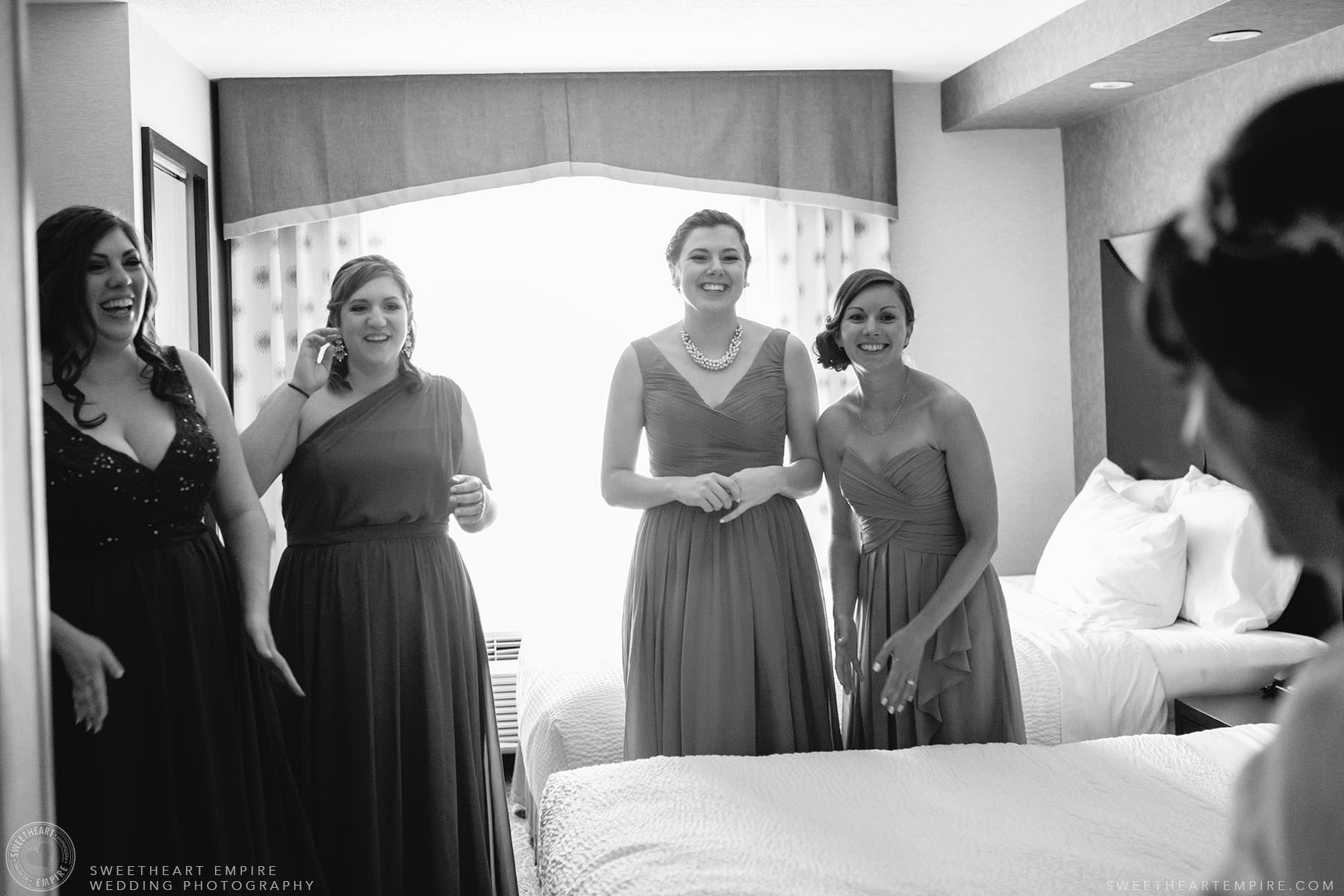 Bridesmaids seeing the bride for the first time; Aberfoyle Mill Wedding