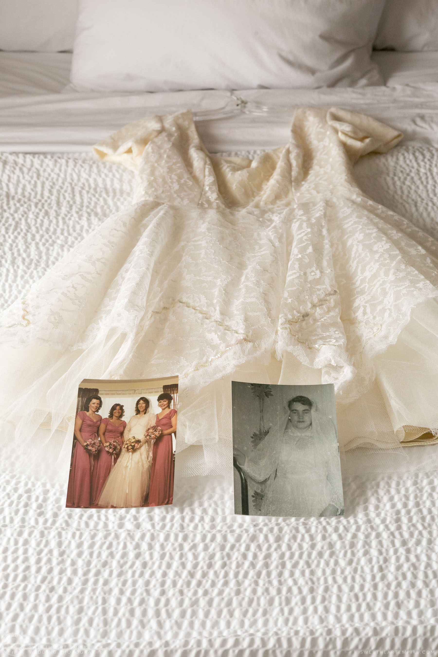 Bride's dress and old family photos; Aberfoyle Mill Wedding