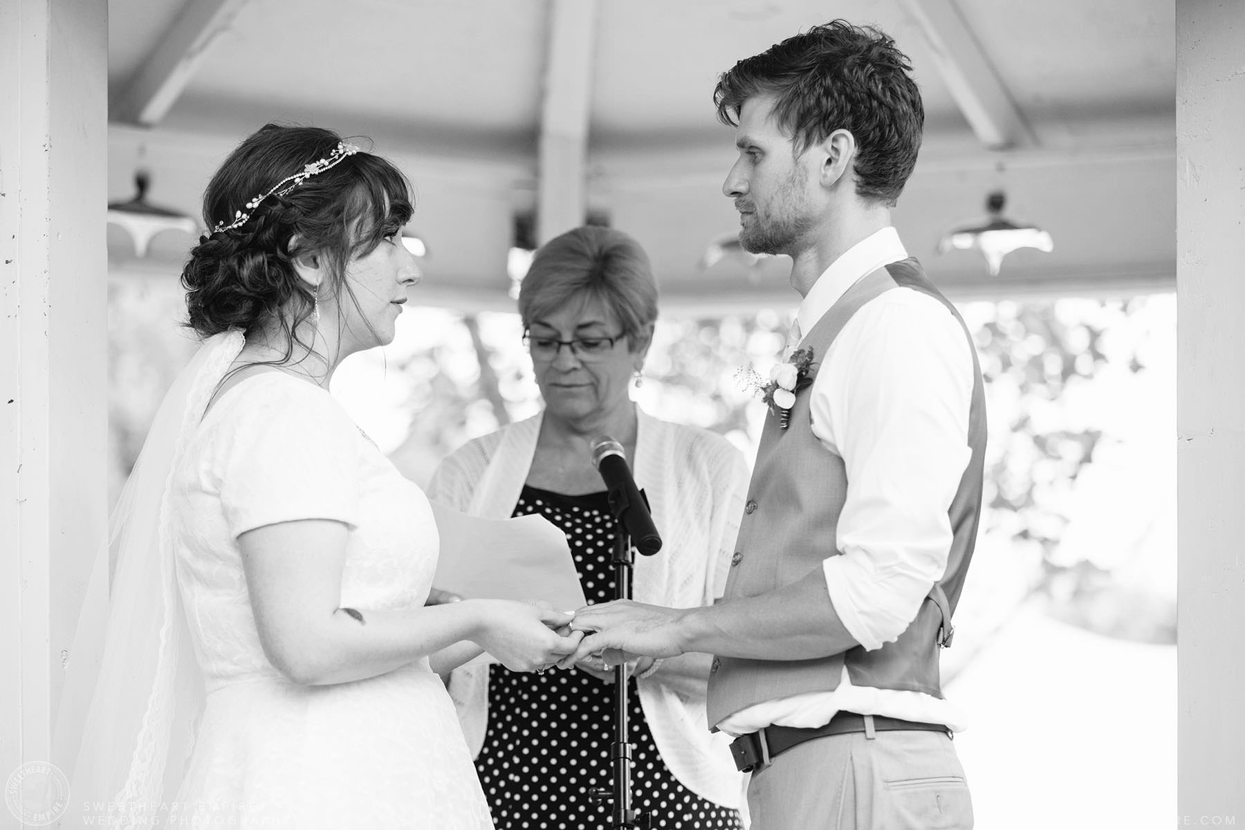 Bride and groom exchange vows; Aberfoyle Mill Wedding