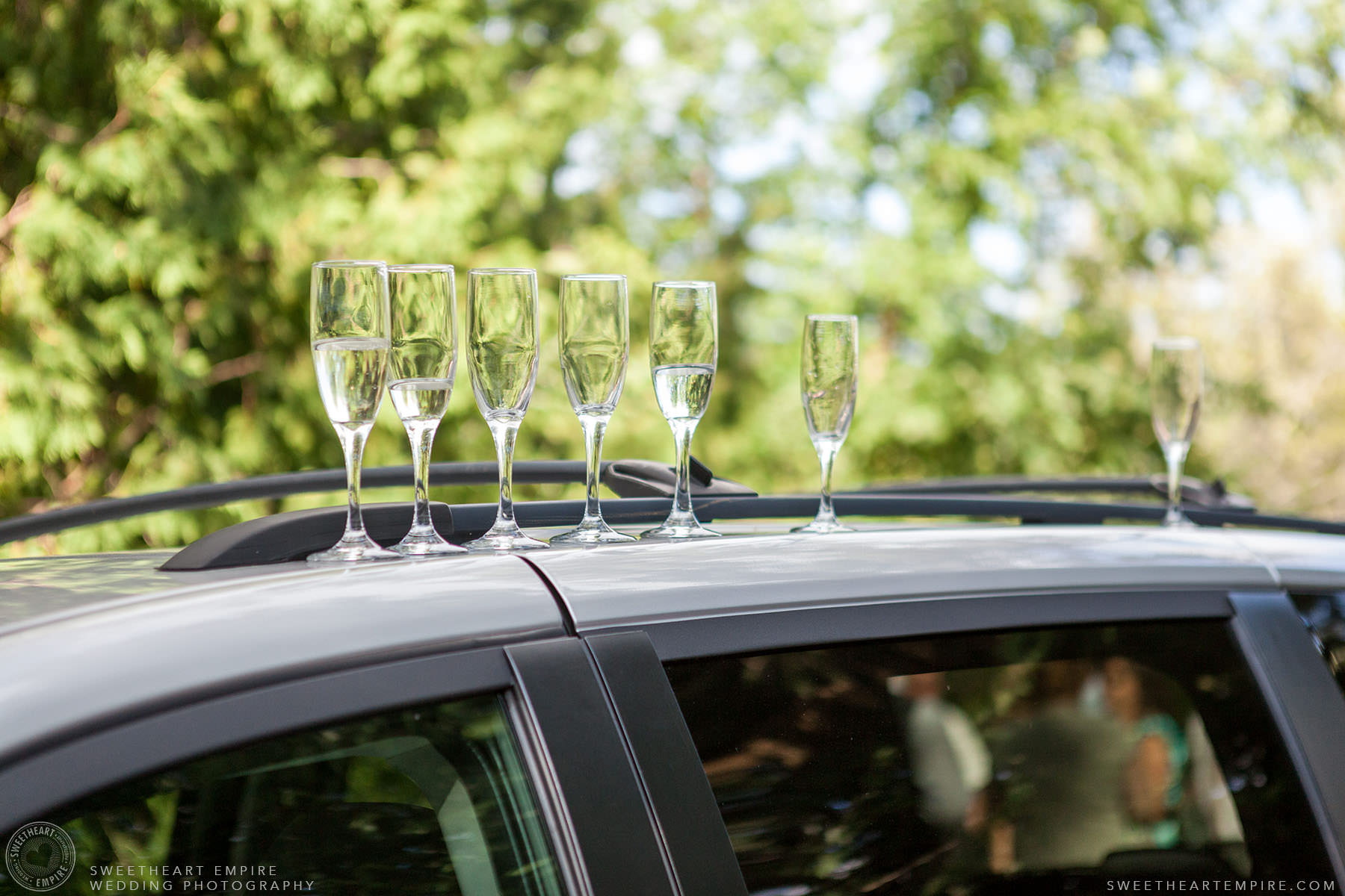 Glasses of champagne; Aberfoyle Mill Wedding