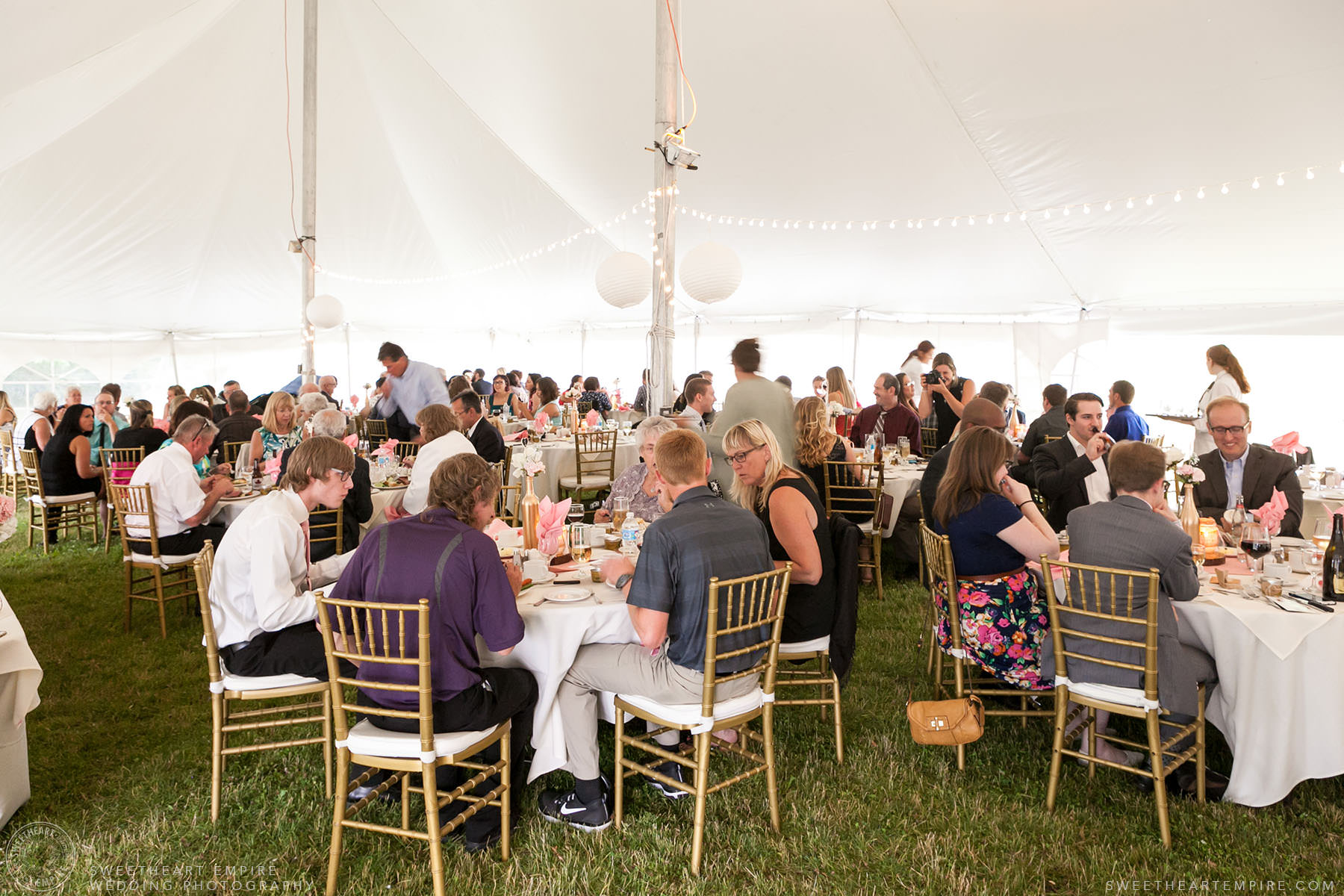 Guests eating dinner during wedding reception; Aberfoyle Mill Wedding