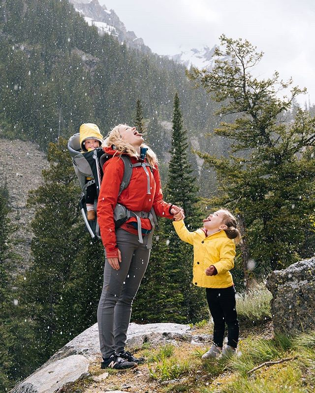 Teaching Whitney a very important skill! - Hail was the last thing we expected when we went for a hike around Jenny Lake but we definitely made the most out of it! Would you have done the same? The hike was beautiful and the crazy weather just added to the dramatic views!👌 - #outsideadventures #adventuretogether #exploretogether #familyhiking #hiketogether #hikingwithkids #familyhike #funnytoddlers #jennylake #grandtetonnationalpark #grandtetons #wildandfree #adventurouslife #lifeisstreet #happyfamilytime