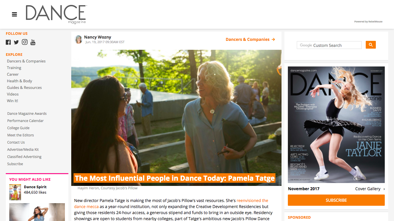 http://www.dancemagazine.com/the-most-influential-people-in-dance-today-pamela-tatge-2442294569.html