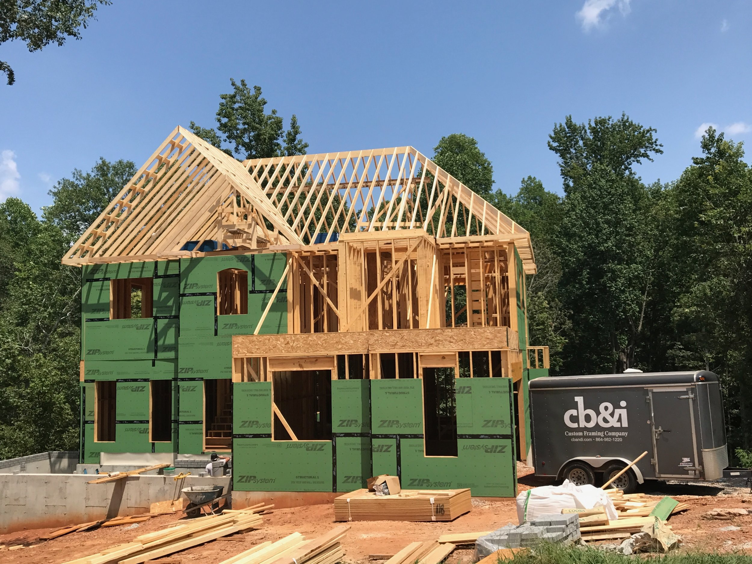 Roof System nearing completion. More pictures and updates to come as we wrap up the framing on this beautiful home.