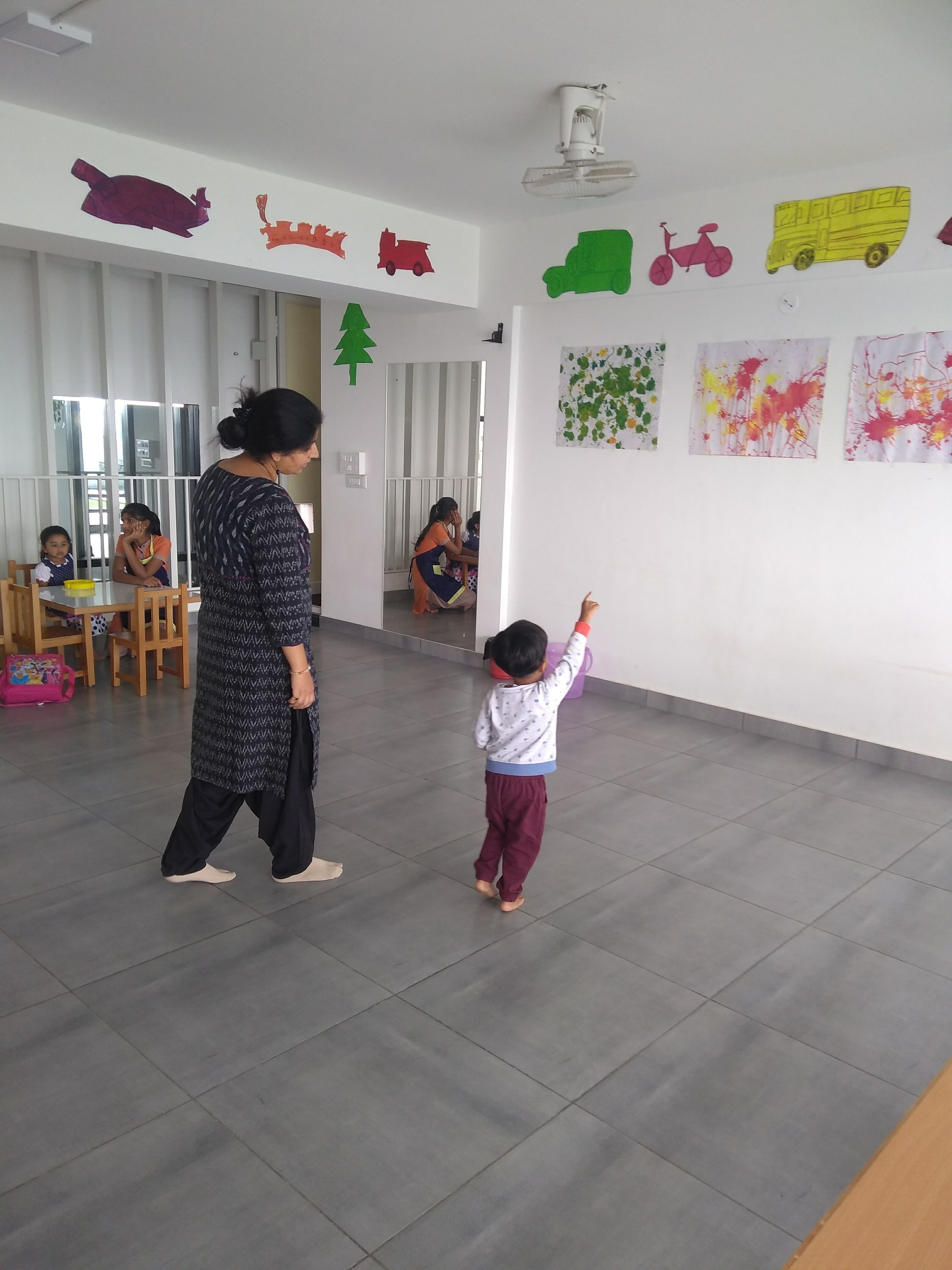 Educator following the child's interest in art
