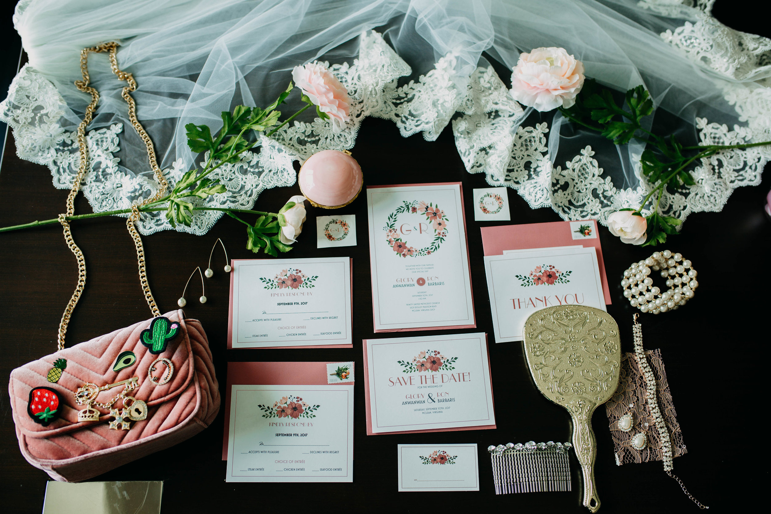 Virginia wedding // flatlay detail of invitations // Always Creating Studio