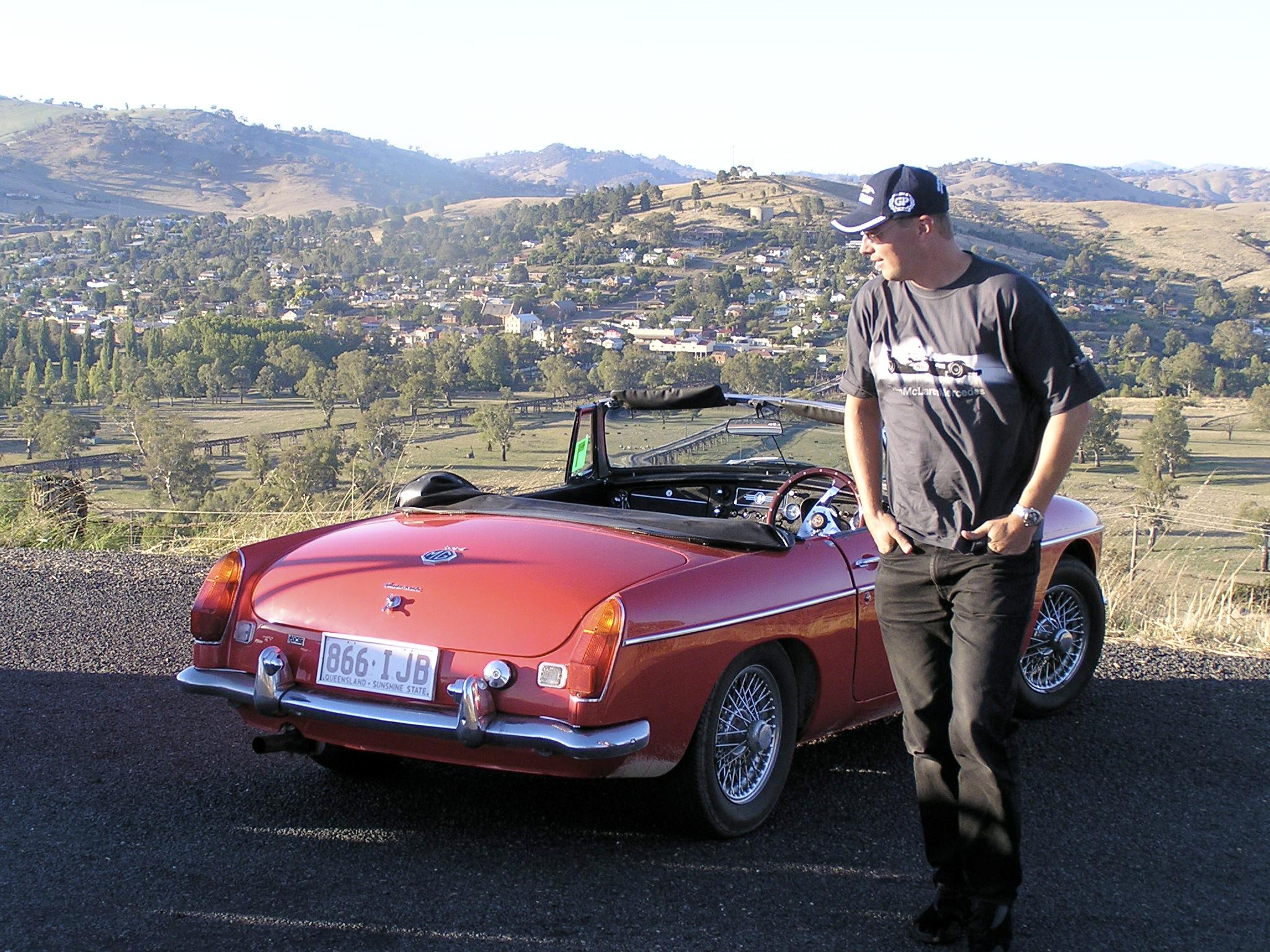 Taking in the town of Gundagai in my Automatic 1970 Mk II MGBL