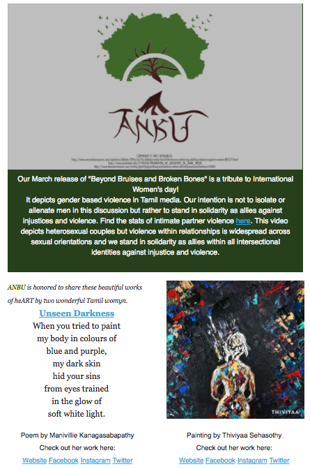 Newsletter exert from ANBU's one year anniversary - March 2017 edition
