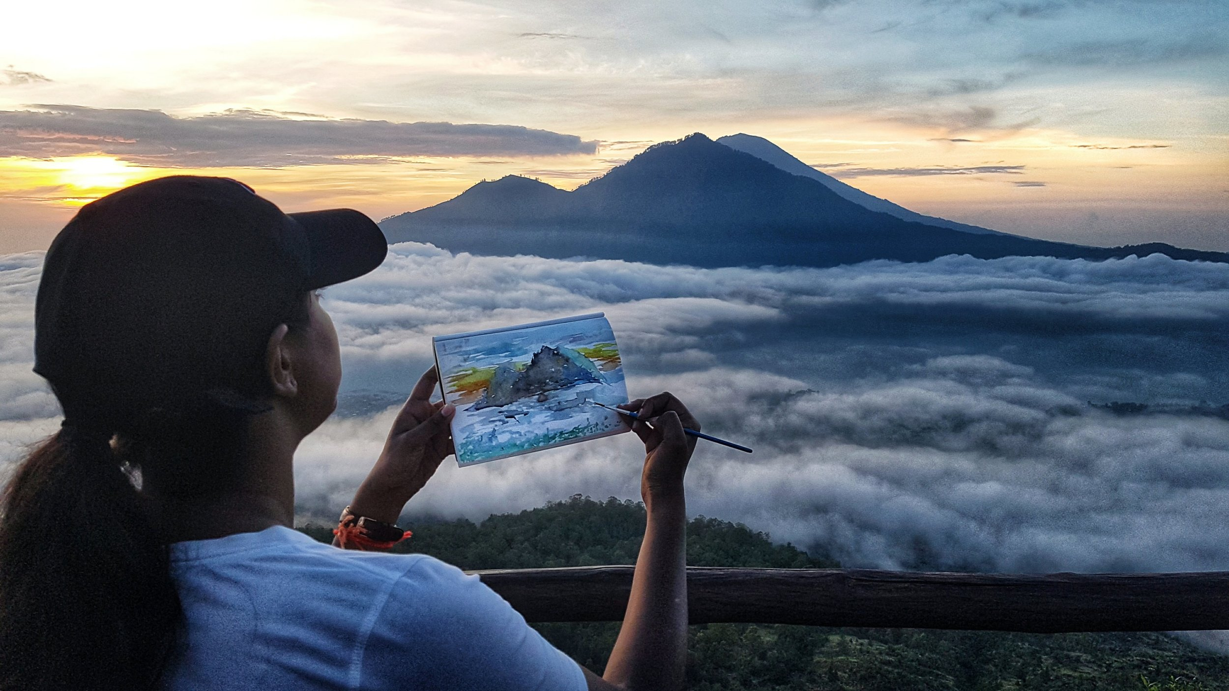 Thivs Travelling Canvas Series : Bali , Indonesia: 3 hour hike to see this stunning sunrise above the clouds
