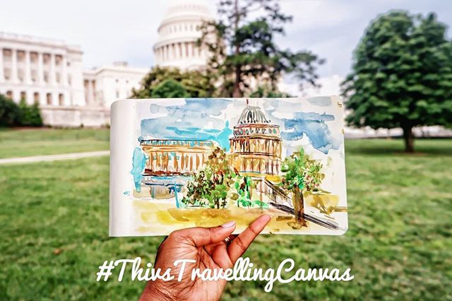#ThivsTravellingCanvas x Washington DC. Close ups from my previous post. Check out my last post to see the video! #TravelWithThivs #ArtByThiviyaa  _______________ #doyoutravel#wanderlust#travelshot#traveller#passionpassport#traveltheworld#forceofnature#travelawesome#travelphotography#photooftheday#theglobewanderer#nakedplanet#mystopover #travelstoke #watercolor #watercolorpainting  #torontostyle#fashioncanadians#streetstyleluxe#melaninpoppin#pleinairpainting #watercolor #jumpsuit #summerootd