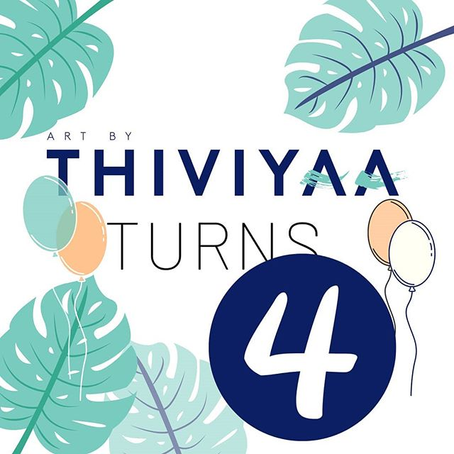 🎈🥳Art by Thiviyaa turns 4! A heartfelt thank you for all the support, the encouragement, motivation and the love for my journey as an artist. Growing this business has far exceeded what I ever imagined when I got started and now I can't wait to show you what I have in store for year 5. It's going to be a big one.  I hope to continue challenging myself to do things outside my comfort zone and one of them will be this Saturday so if you're available, I've got a surprise coming up tomorrow that's happening Saturday (10-3 pm in Scarborough). I won't deny that this year was probably the toughest and craziest one yet. With new milestones last year and adjusting to many changes that came with it, keeping up with the same process has been a huge adjustment. A special thank you to all my clients this year who have been understanding and patient with the changes. You are all the team MVP.  Can't wait to share more of my journey with you all.  Love, Thiviyaa  #ArtByThiviyaa #Artist