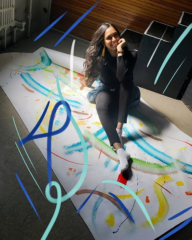 3/3 Just chilling with some backdrops I made for a photoshoot few months ago while I celebrate 4 years of Art By Thiviyaa today!  #artistatwork #abstractpainting #backdrop #anniversary #sketches