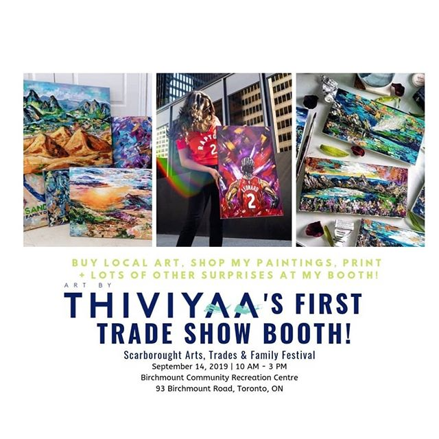 🎊Free this Saturday? Want to support local?! Hope you can make it! Join me at my booth at the Scarborough Arts, Trades & Family Festival at Birchmount Community Centre at Birchmount and Kingston. Drop a comment if you'll be attending! This will be first trade show and I am proud to be one of few artists representing Scarborough Arts. My first exhibit was with SA and it changed my life.  I love that this festival celebrates and encourages the community to support and shop local! Come out this Saturday!  What to expect from my booth? I will have paintings, prints, greeting cards, bookmarks and more for sale and this is a great chance to see my work in person if you were interested in any on my shop! There will also be special promotions for the festival. I have been working away to make my booth extra special which has made me nervous but excited!  This festival is indoors and outdoors and is jam-packed with fun activities for adults, families and kids! Including: food trucks, food vendors, local artist like myself, and other crafters, and a family fun fair that includes stage shows, obstacle course, miny-indy, carnival games, BOUNCY CASTLE, face painting, fire trucks, games, prizes and more.  Best part?  I've wanted to be a part of a trade show for about 3 years now but it always felt so daunting, and two months ago I decided it's time to jump in.  See you on Saturday. It's been one of the most intense weeks ever and I can't wait to see it all come together on Saturday.  Love, Thiviyaa
