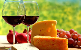 Heaven is red wine and cheese.  Photo