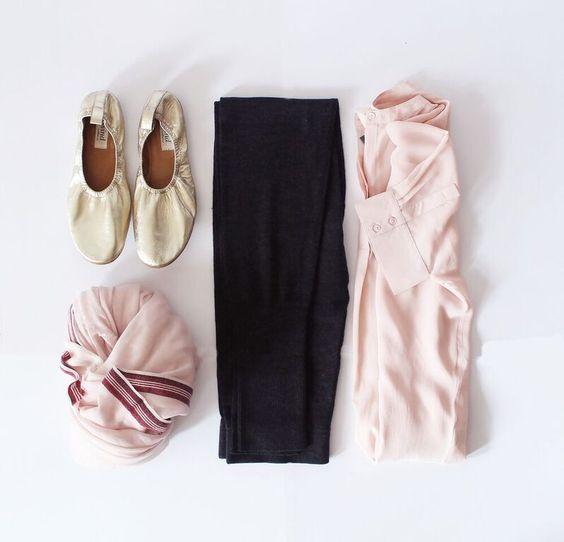 Gold sheepskin highline ballet slippers $119.  100% silk freestyle blouse in blush $179.  100% australian merino superset leggings in charcoal $129.  85% fine merino 15% silk scarf in bush $59 (See below).