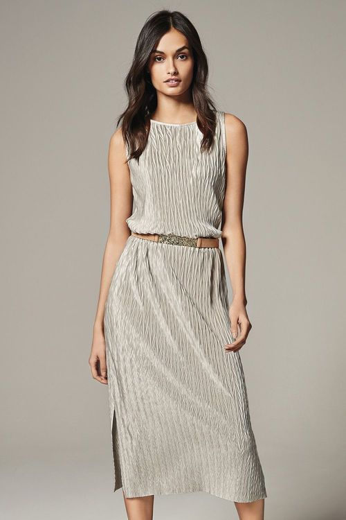 Ezibuy -  Next Metallic Pleated  Dress $77.00.  Style with a jacket, blazer, coat, or simply with jumper.
