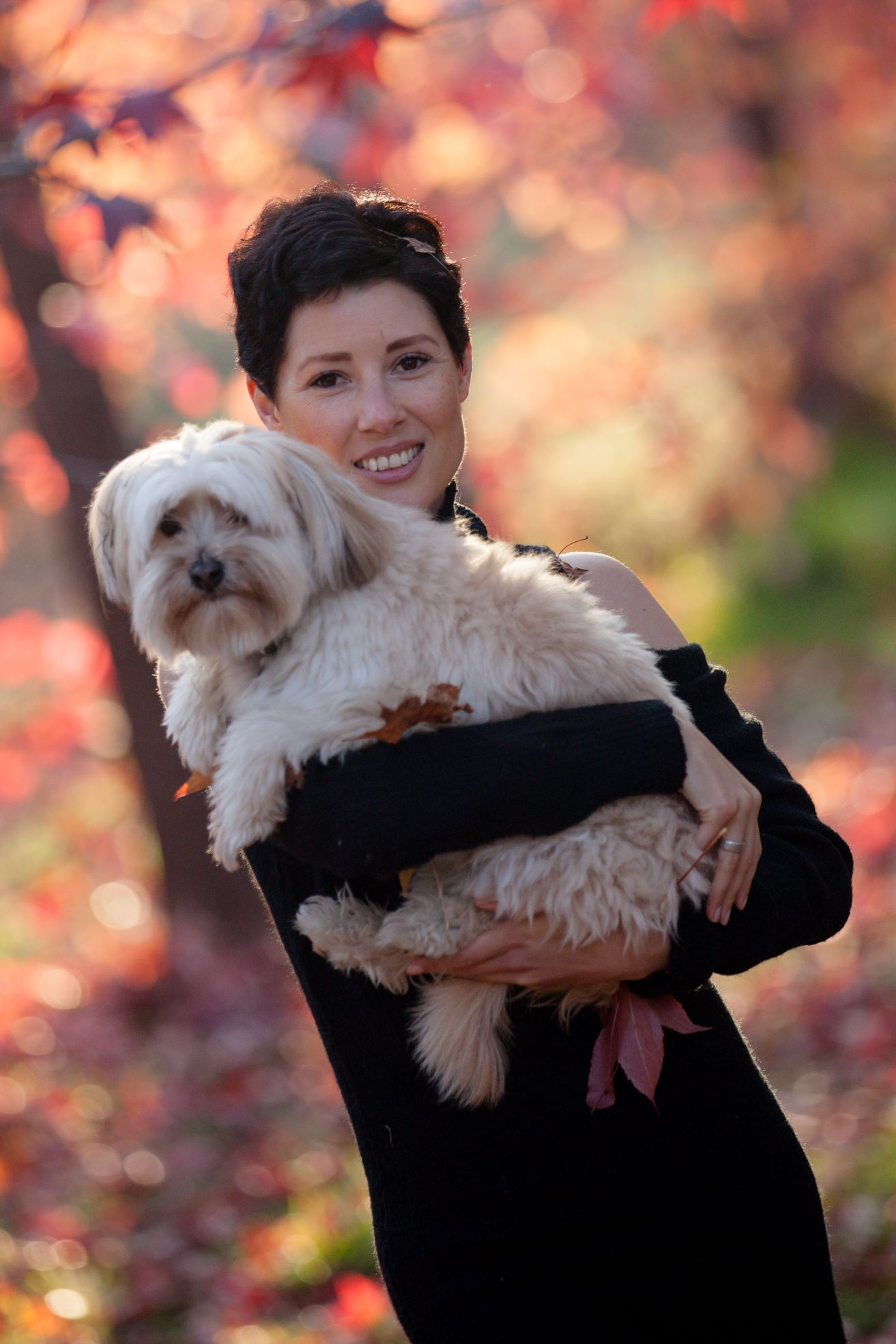 "Brooke today and her beautiful fur baby ""Bear"""