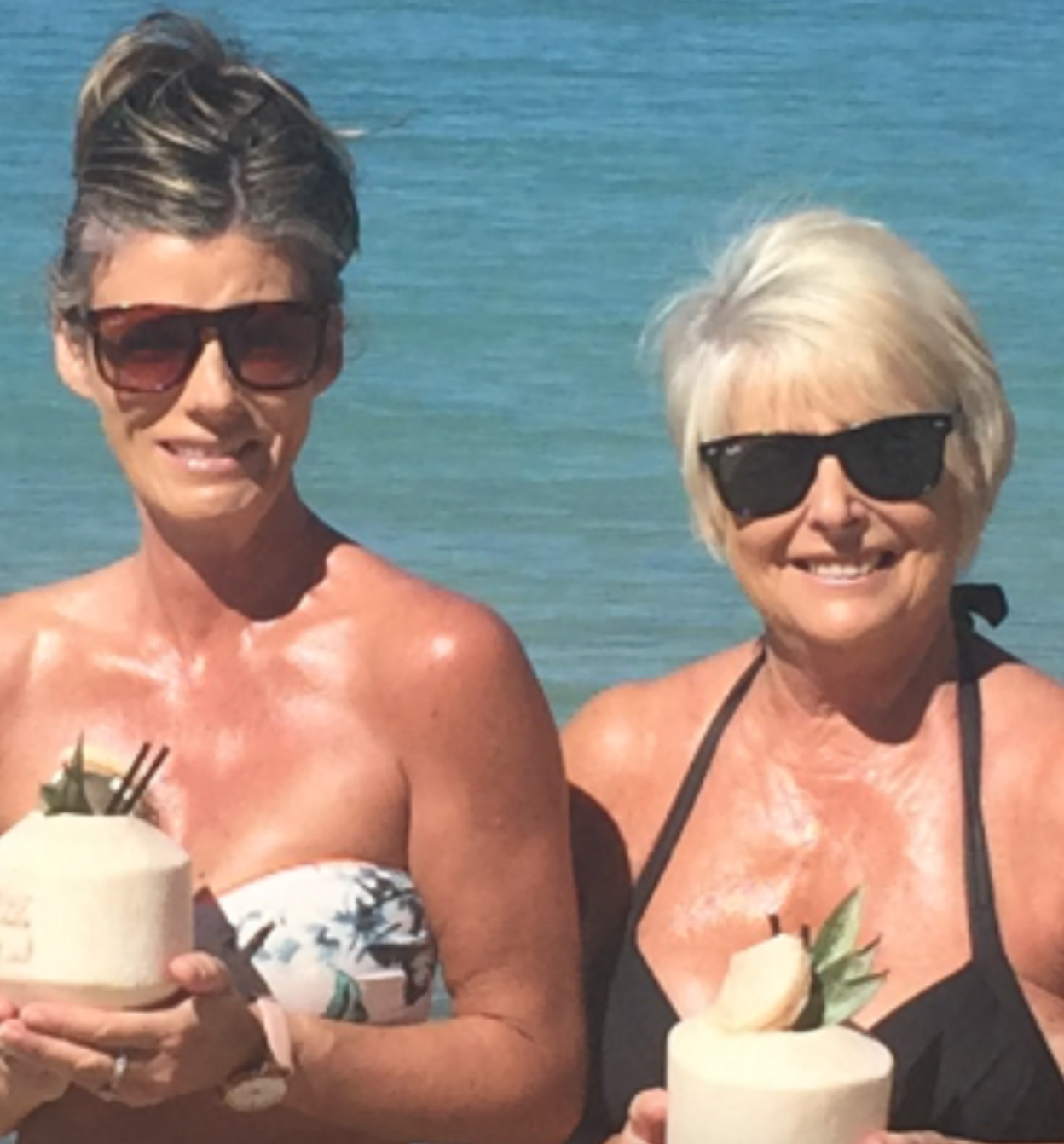Rose on one of her many holidays with one of her daughters, Rowena.